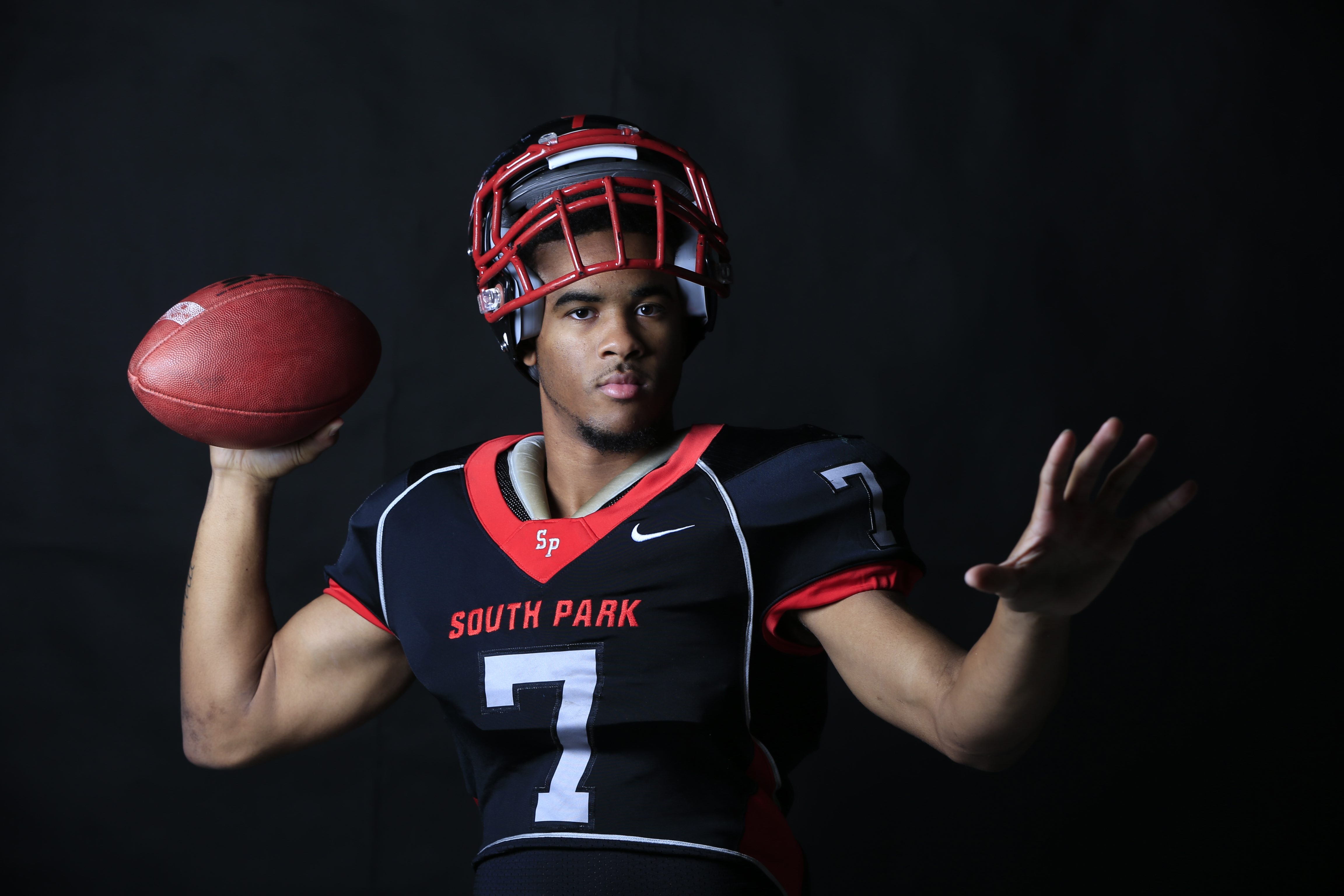 En route to leading South Park to a historic state championship quarterback Tyree Brown either broke or matched five school records. (Harry Scull Jr./Buffalo News)