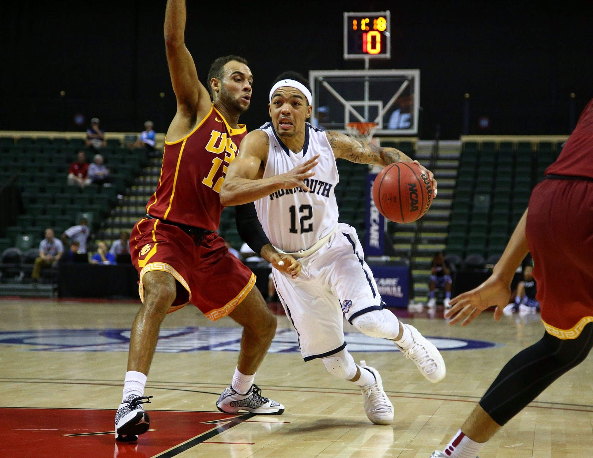 Justin Robinson of Monmouth is one of the top guards in the Metro Atlantic Athletic Conference, helping the Hawks to play an up-tempo game.