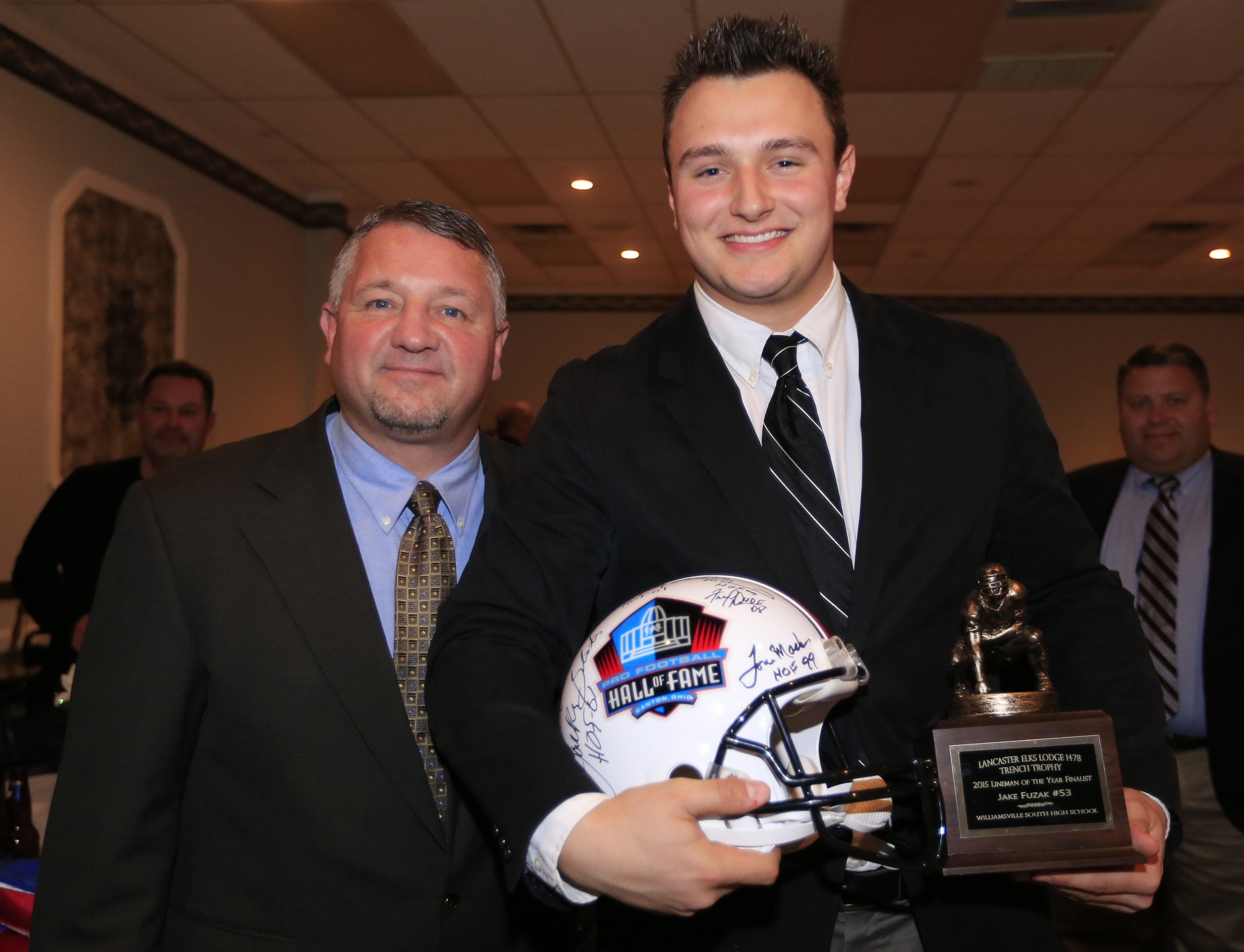 Trench Trophy winner Jake Fuzak from Williamsville South is joined by his coach, Kraig Kurzanski. Fuzak is the first player from Williamsville South to win the trophy.