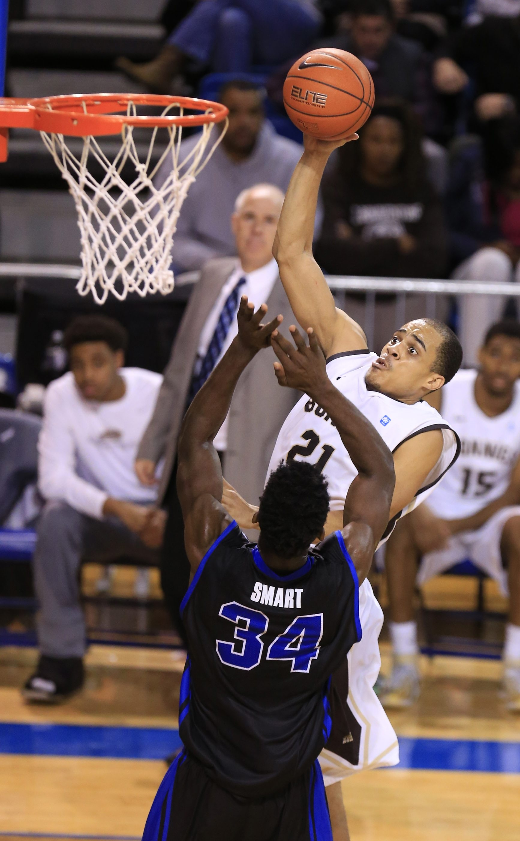 St. Bonaventure's Dion Wright soars to put in two of 26 points against UB on Wednesday night.