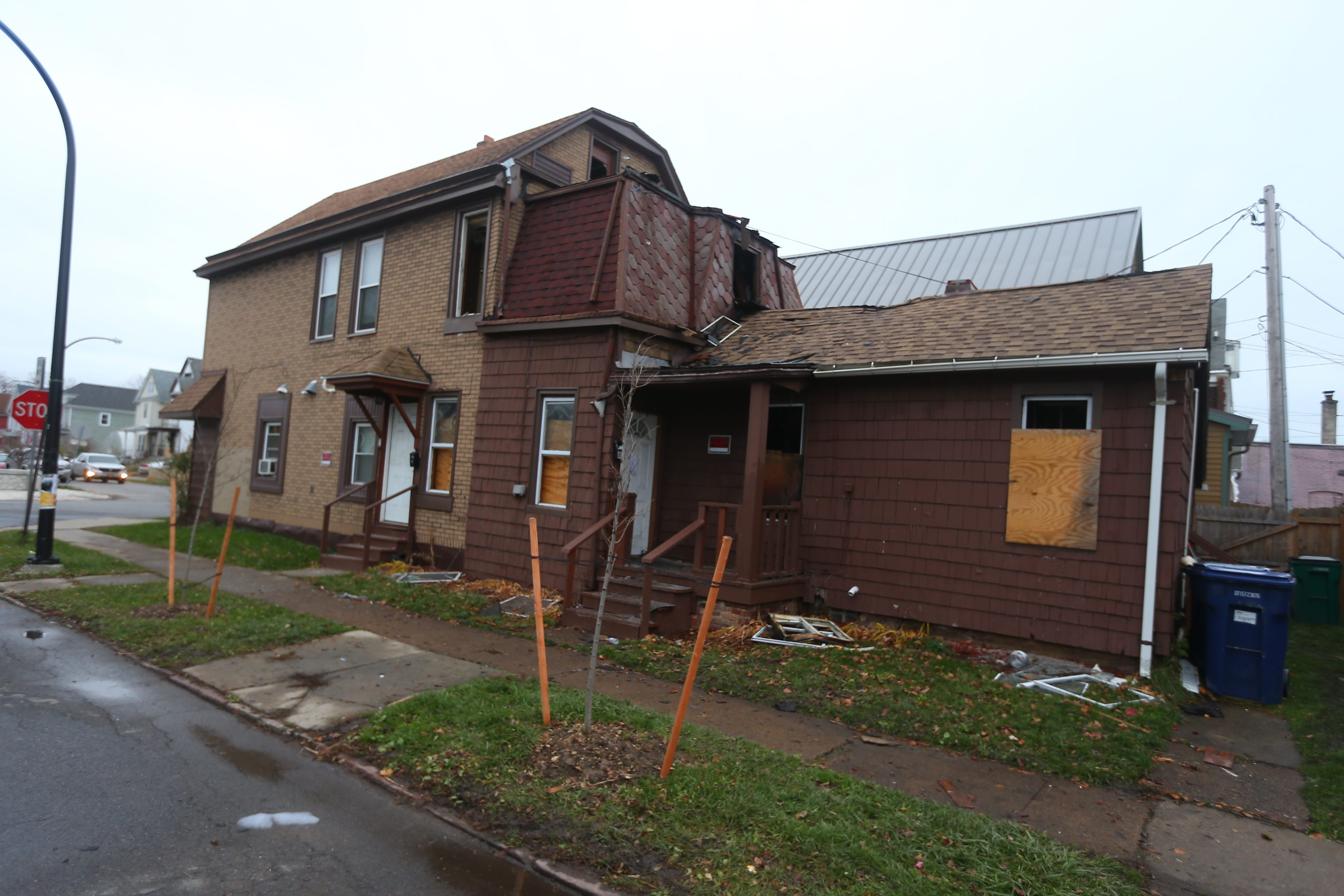 The Red Cross is helping four adults after fire struck a multiple-family home on Massachusetts Avenue Tuesday,  Dec. 1, 2015.   (John Hickey/Buffalo News)
