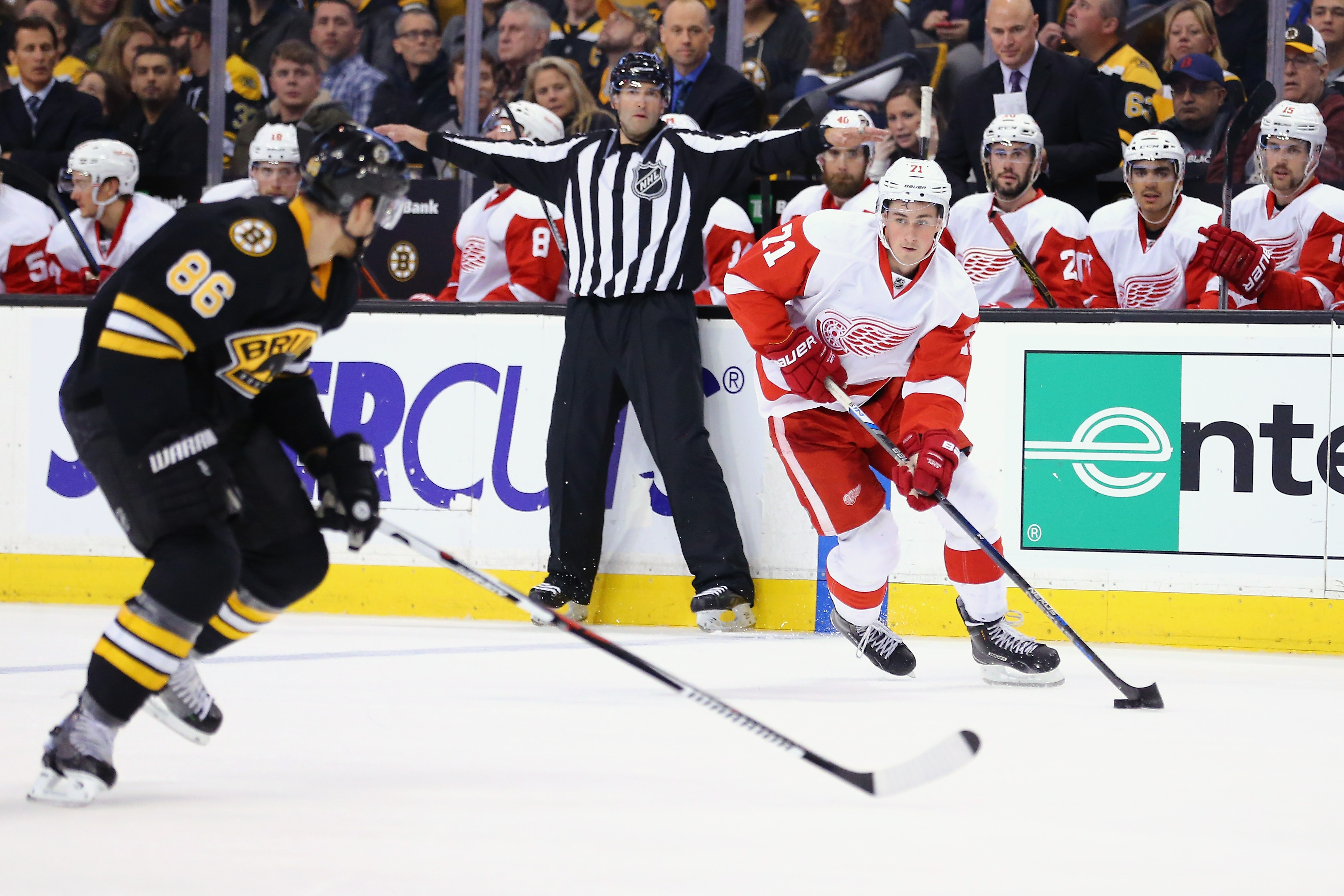 Red Wings rookie Dylan Larkin has 10 goals and 18 points in his first 24 games centering Detroit's top line.