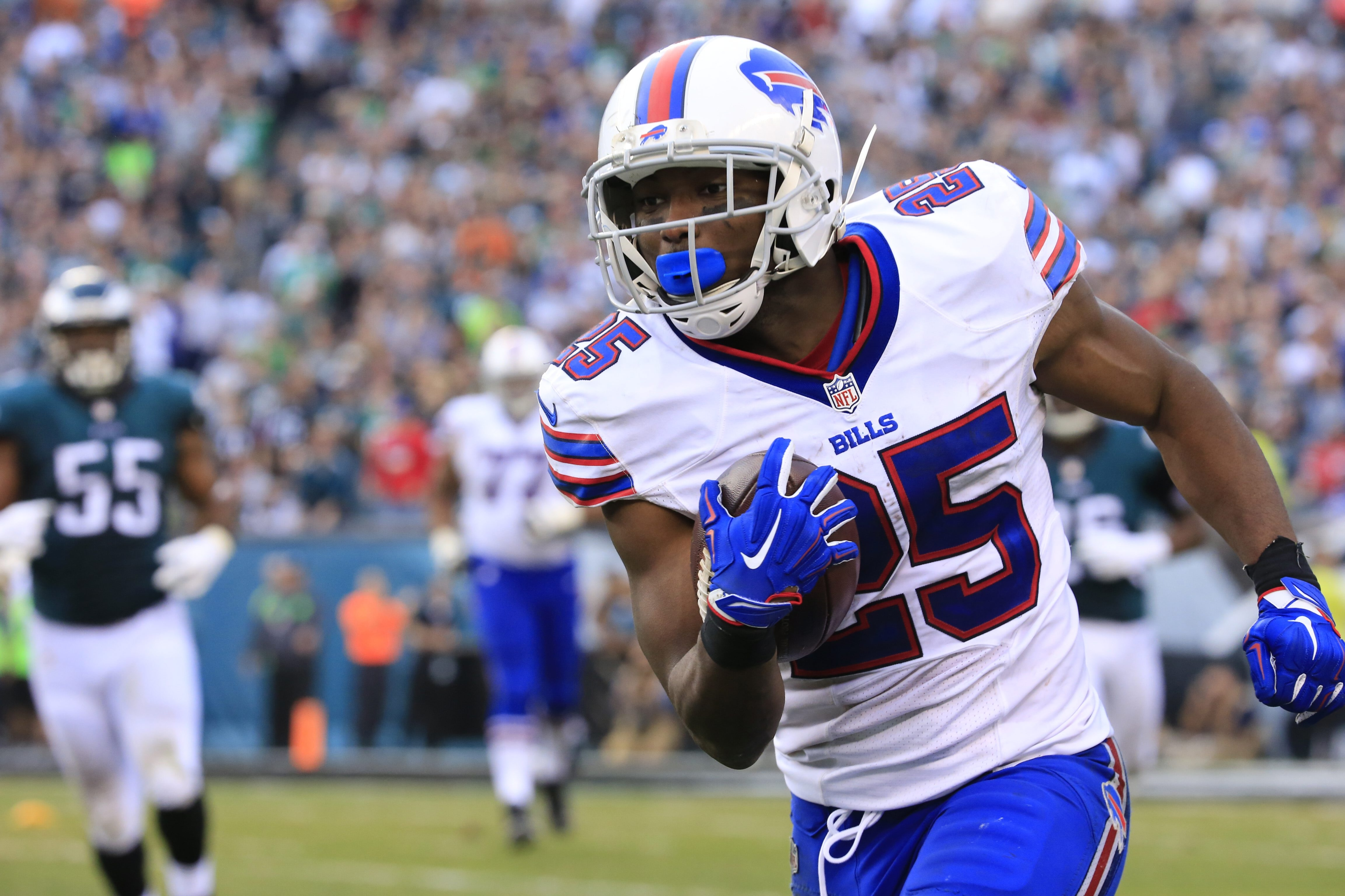 LeSean McCoy ran eight times for just 11 yards in the second half against his former team, the Philadelphia Eagles. (Harry Scull Jr./Buffalo News)
