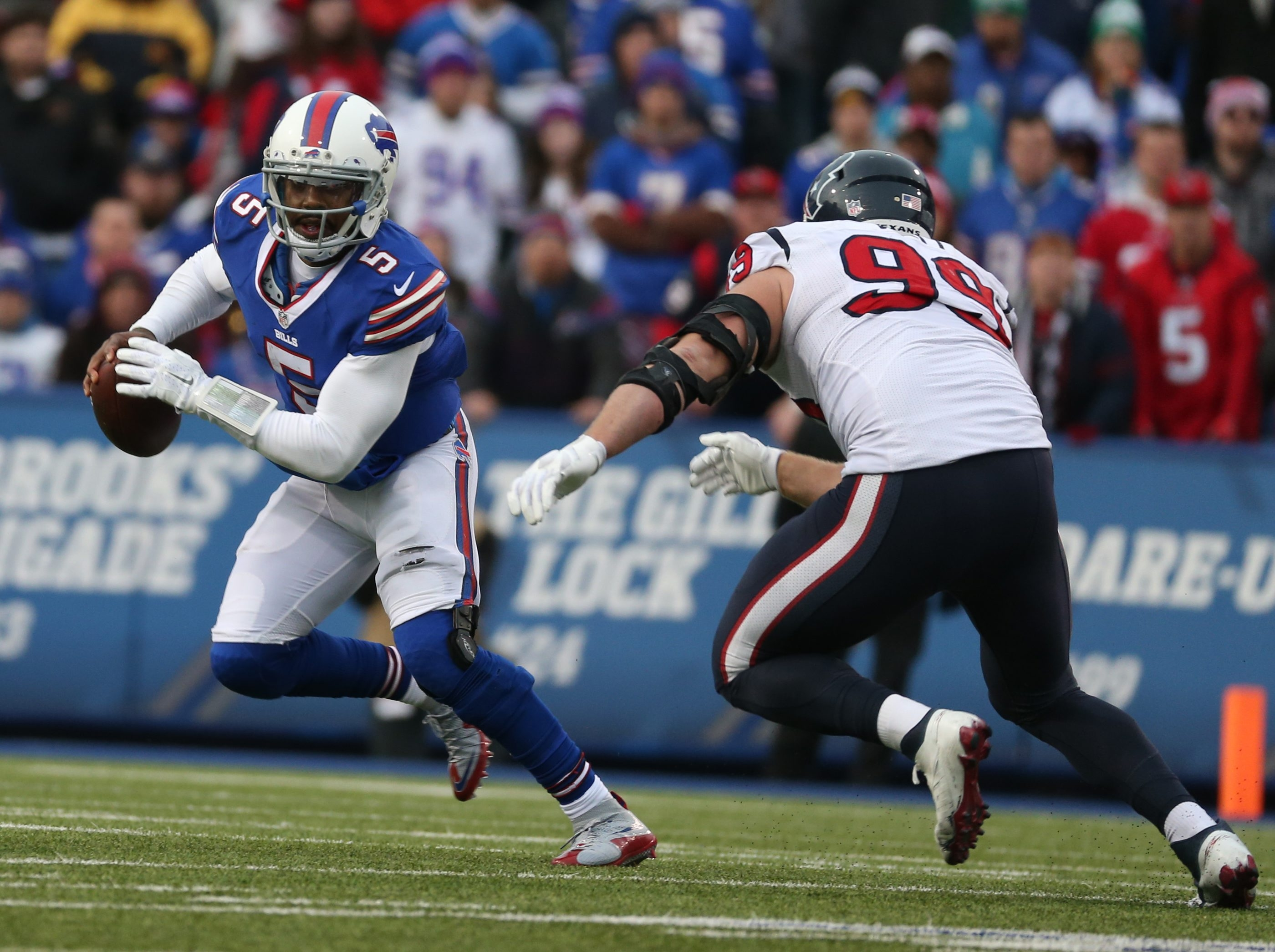 The Bills' mobile Tyrod Taylor ranks third in the NFL in rushing by a quarterback.