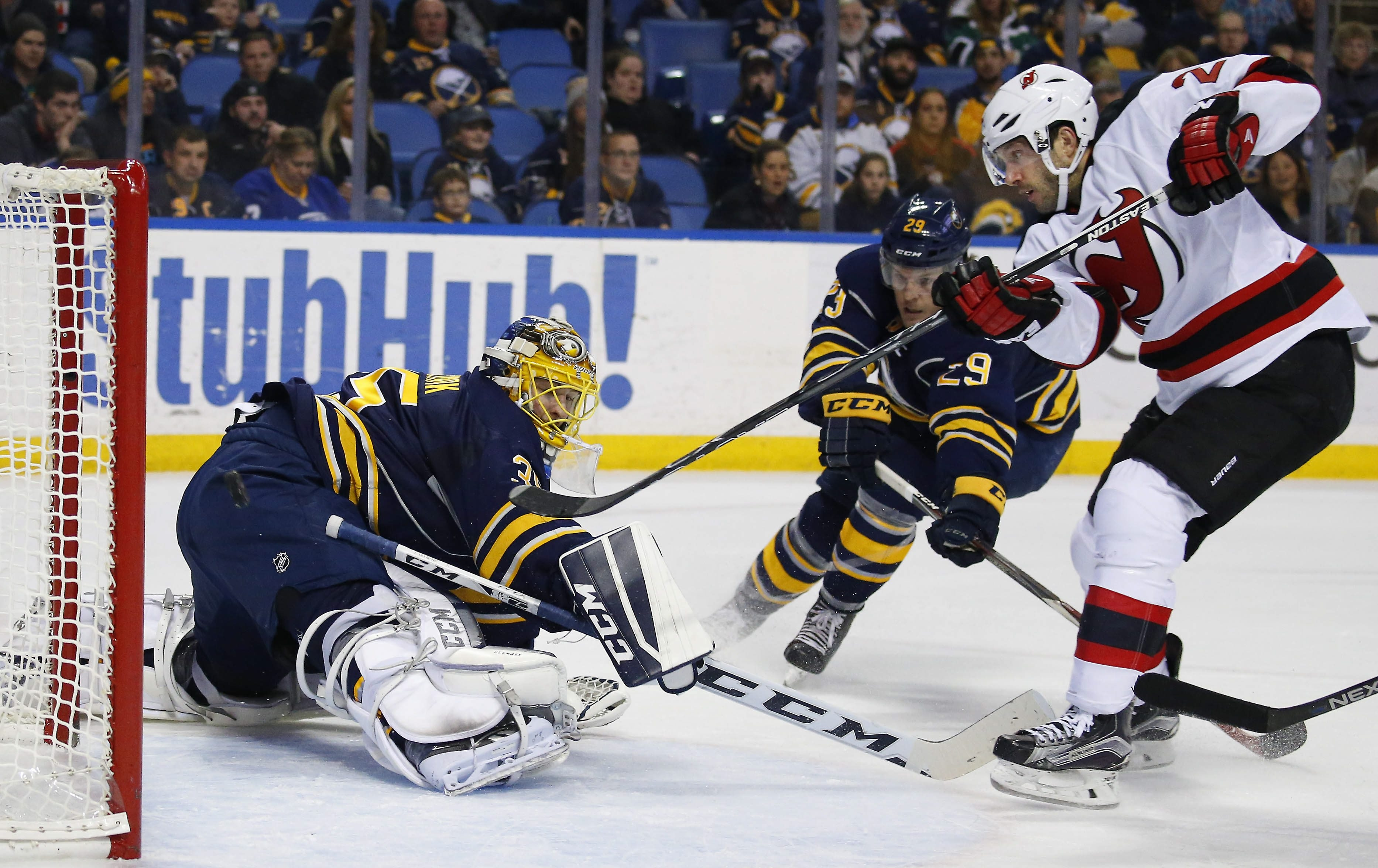 Sabres goalie Linus Ullmark can't stop the Devils' Lee Stempniak on the game's first goal in the second period.