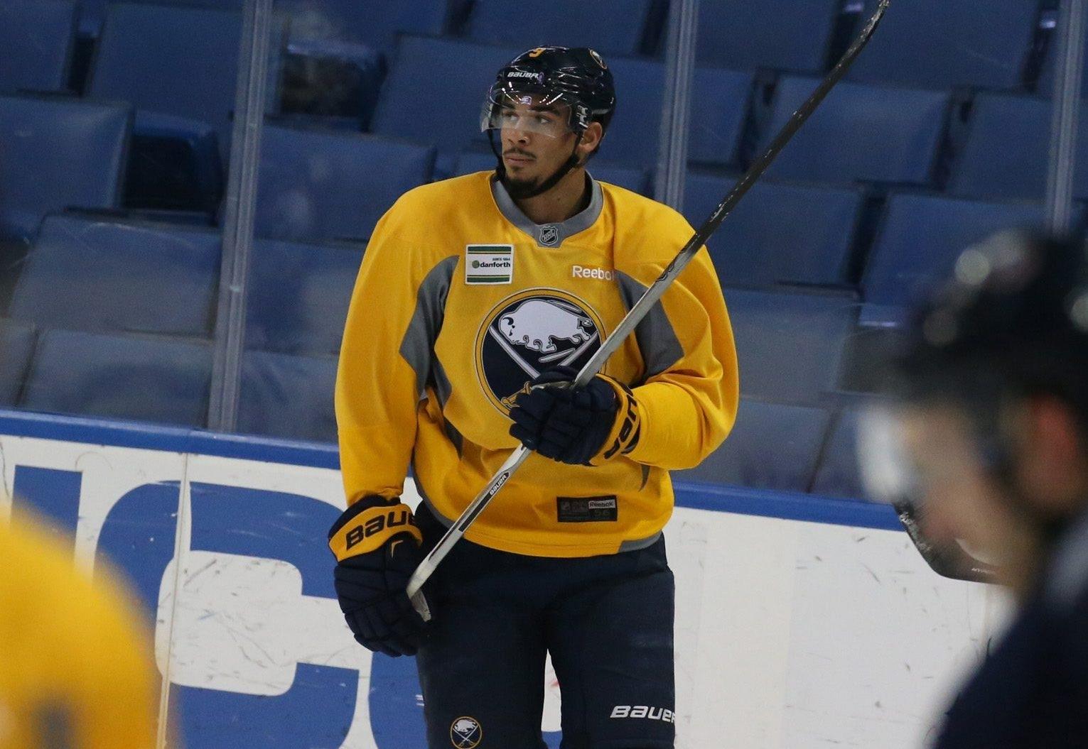 Evander Kane practices with the Sabres Monday morning at the First Niagara Center. (John Hickey/Buffalo News)