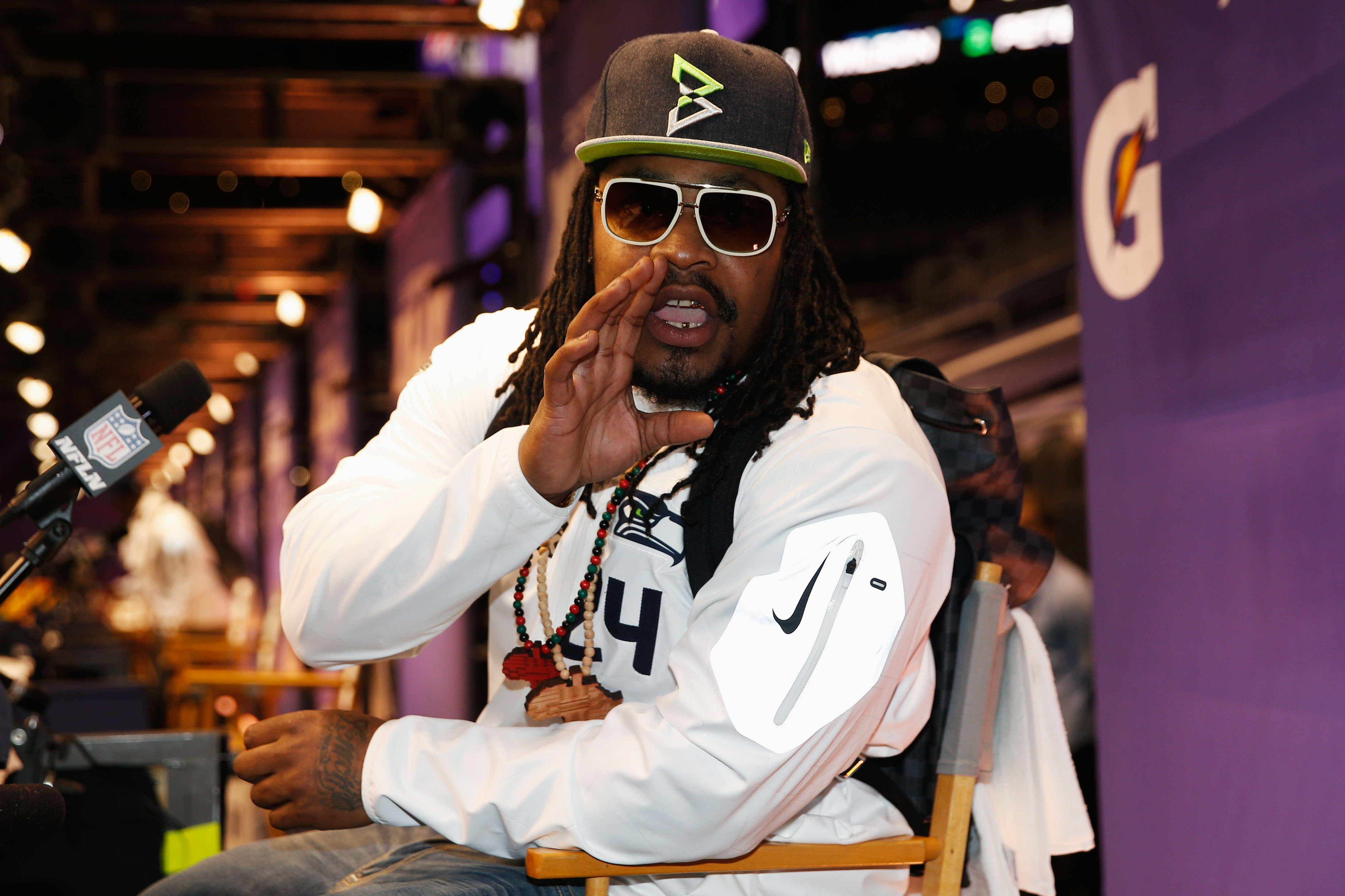 Marshawn Lynch #24 of the Seattle Seahawks has secured a trademark for the phrase: 'I'm just here so I won't get fired.' (Getty Images)