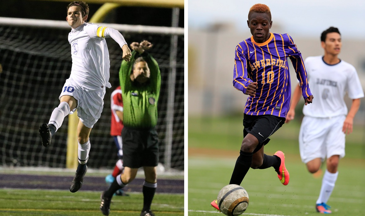 Troy Brady, left in white, and Hassan Sabtow, right in purple, were two players who signed with FC Buffalo for summer 2016. (Harry Scull Jr./Buffalo News file photos)