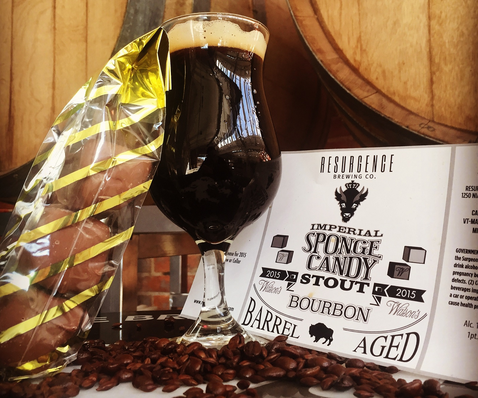Resurgence Brewing Co. has updated its original  barrel-aged Sponge Candy Stout (pictured) by adding milk sugar. (Courtesy Resurgence)