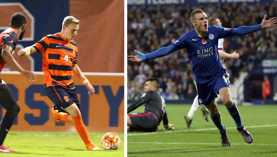 Syracuse men's soccer's Liam Callahan, left, and Leicester City's Jamie Vardy are big topics on Episode 3 of the 'Football Club of Buffalo Show.' (SU Athletics/Getty Images)