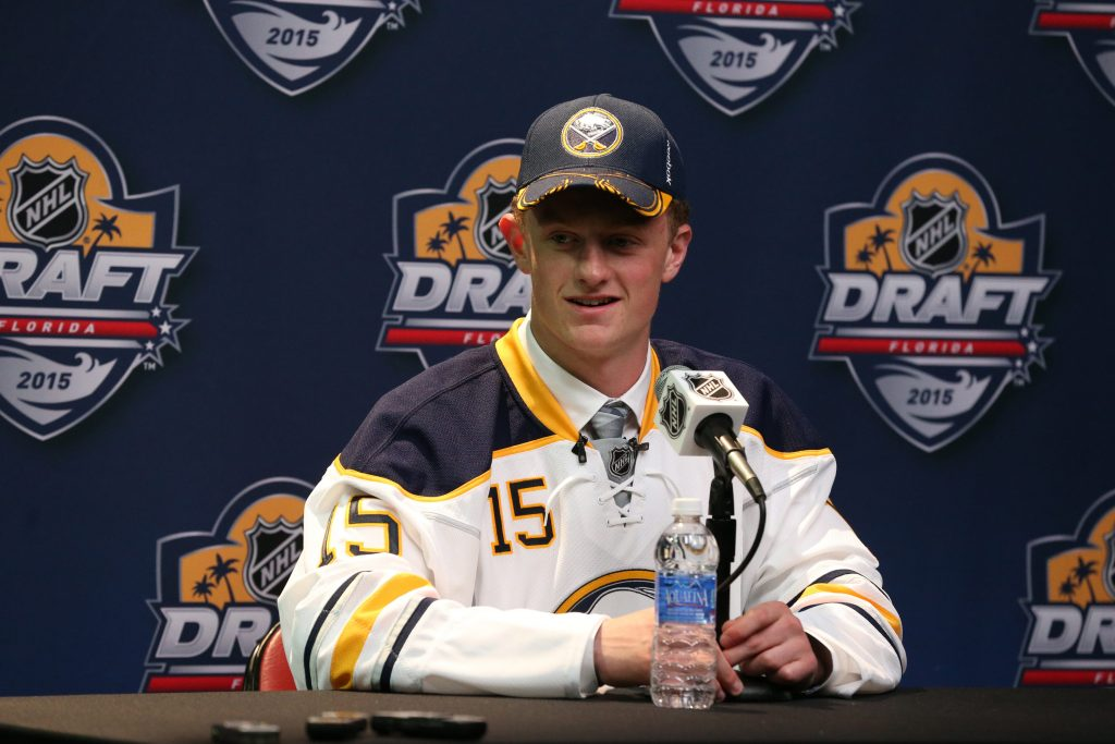 Jack Eichel talks to the press after being selected by the Buffalo Sabres as the second overall pick of the NHL Draft at the BB & T Center in Sunrise, Fla., on June 26, 2015. (James P. McCoy/ Buffalo News)
