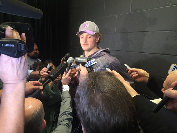 Jack Eichel meets a horde of Boston-area media after the morning skate Saturday in TD Garden (Mike Harrington/Buffalo News).