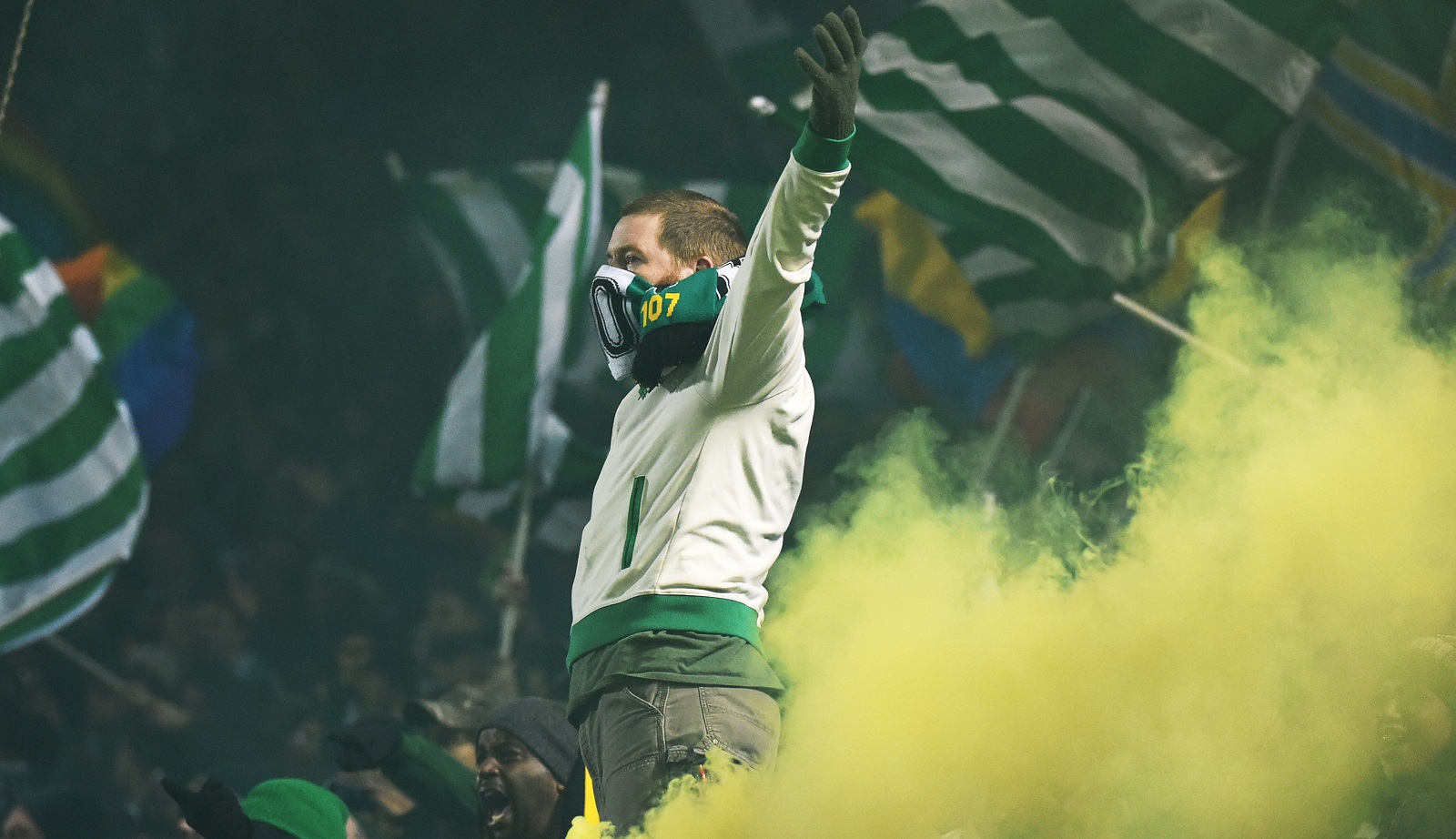 No, this isn't noted Timbers fan Drew Maloney, a Buffalonian, but it is a member of Timbers Army. (Photo by Steve Dykes/Getty Images)