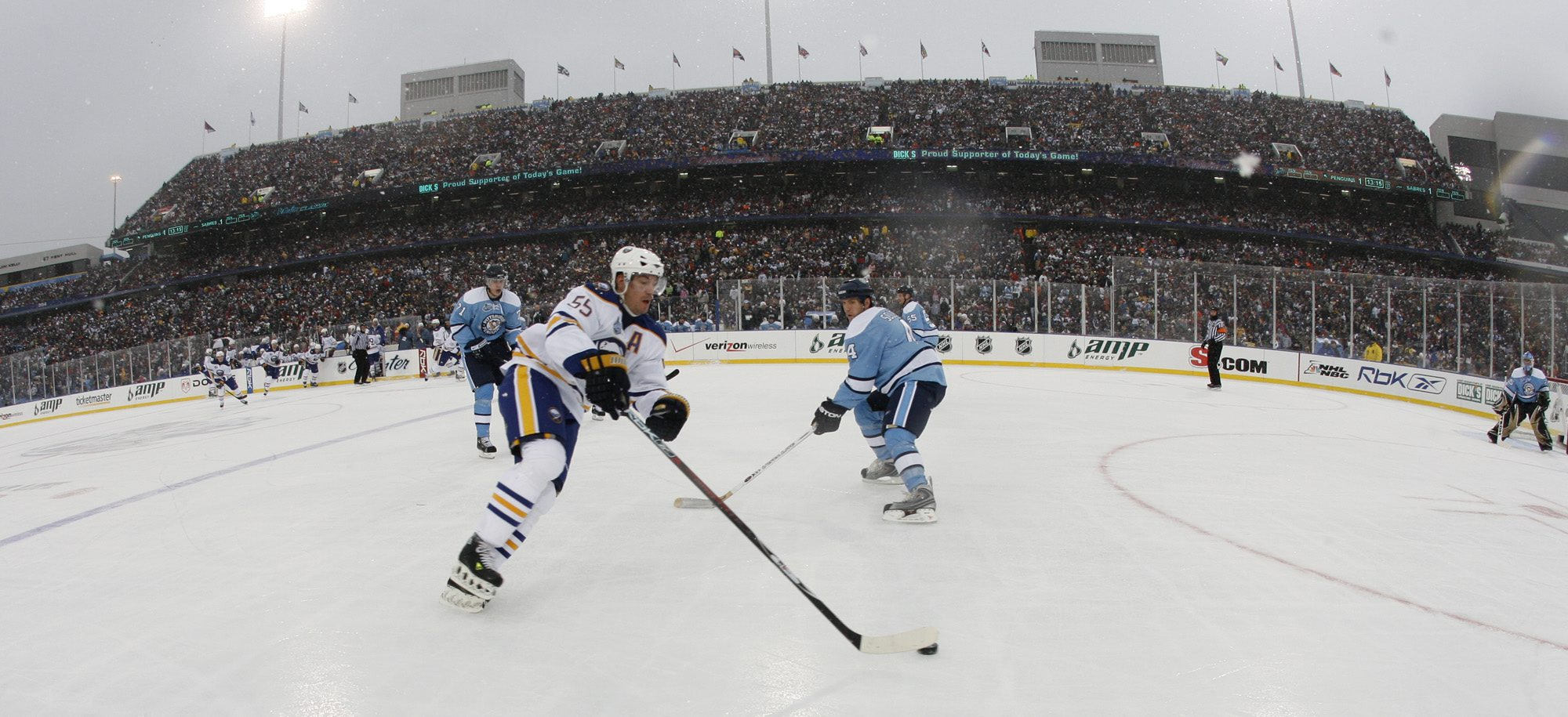 The 2008 NHL Winter Classic was played between the Sabres and the Penguins on on a picture-perfect winter day at Ralph Wilson Stadium. (Harry Scull Jr./Buffalo News file photo)