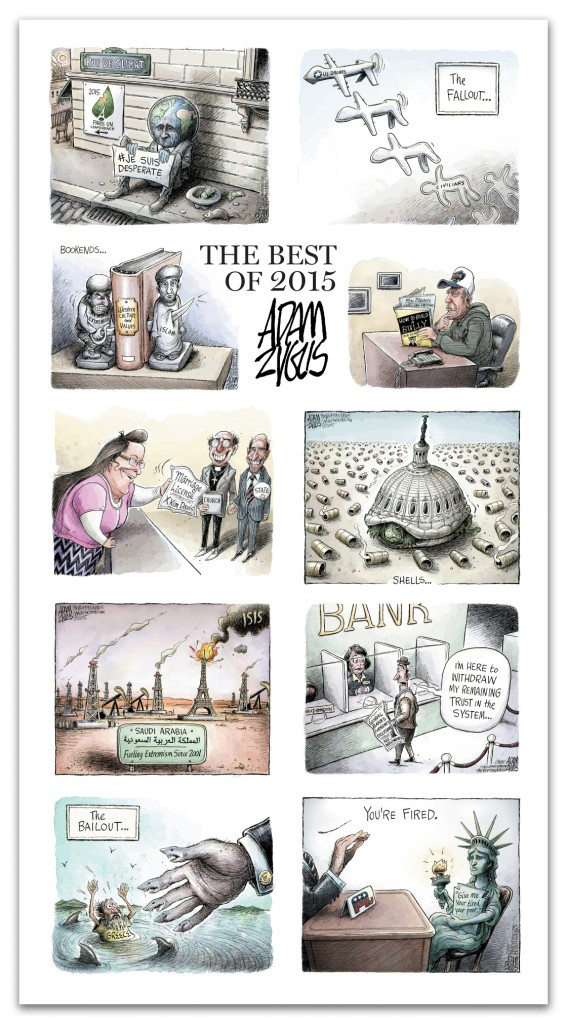 zyglis, cartoons, best of, 2015, islam, paris, isis, rex ryan, drones, banking, greece, eu, trump, liberty, refugees, immigration, guns, shooting, congress, terrorism