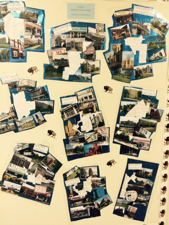 Outside of Council staff's office is collage  of the city's  nine council districts