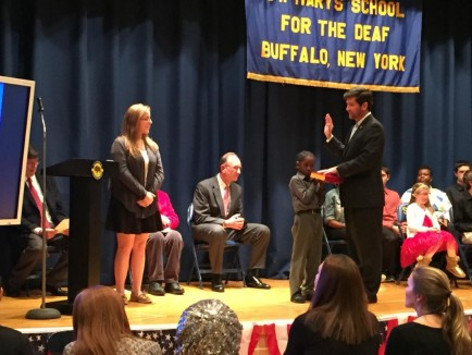 St. Mary's School for Deaf swearing-in ceremony of local elected officials, as tweeted by County Exec Poloncarz and retweeted by City Comptroller Schroeder