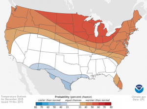 NOAA's Climate Prediction Center is calling for a warmer than average December for much of the county's northern tier. (NOAA CPC image)