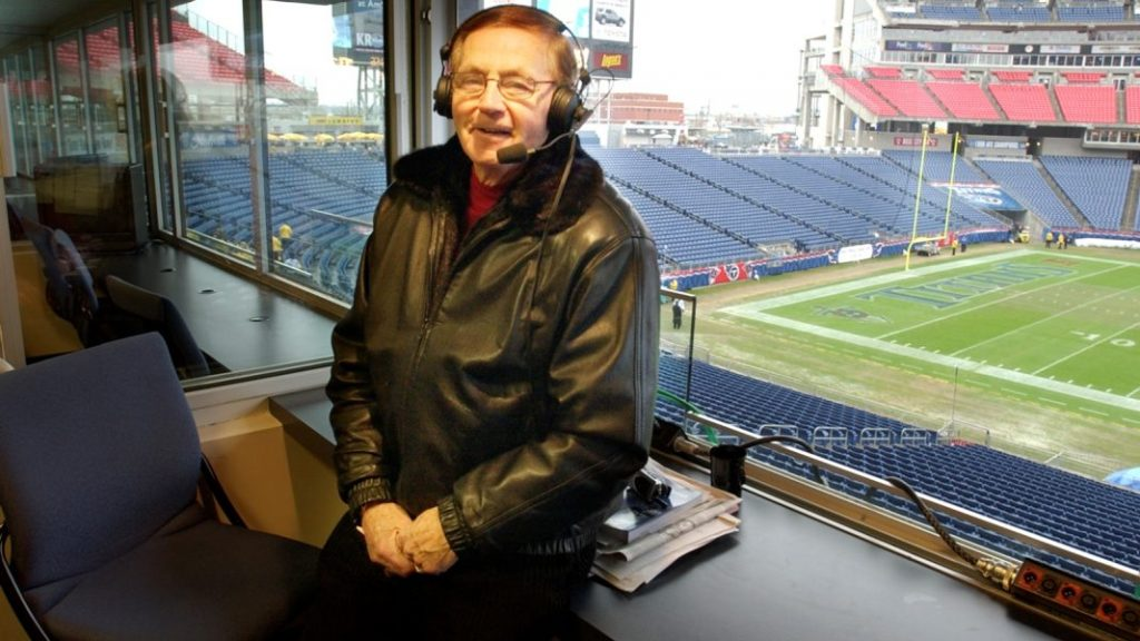 Buffalo Bills vs Tennessee Titans at the Coliseum in Nashville Tenn. Van Miller in the booth before the game (photo by Jim McCoy, The Buffalo News)