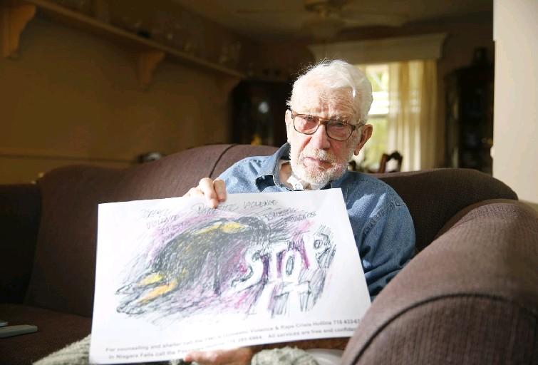 Joseph Whalen in his Lockport home. (John Hickey/Buffalo News)