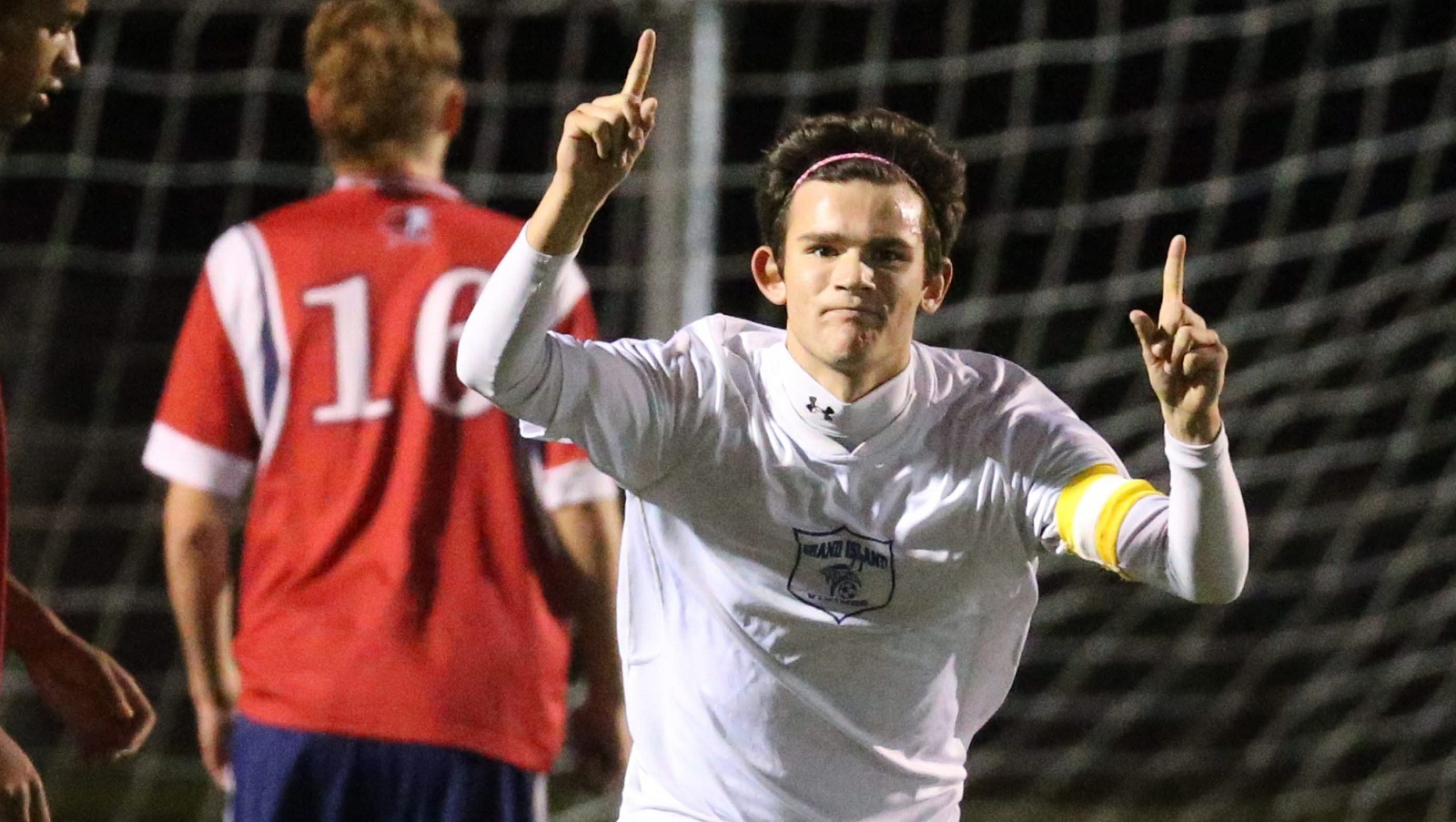 Troy Brady celebrates a goal against Iroquois in the 2015 sectional playoffs. (James P. McCoy/Buffalo News file photo)