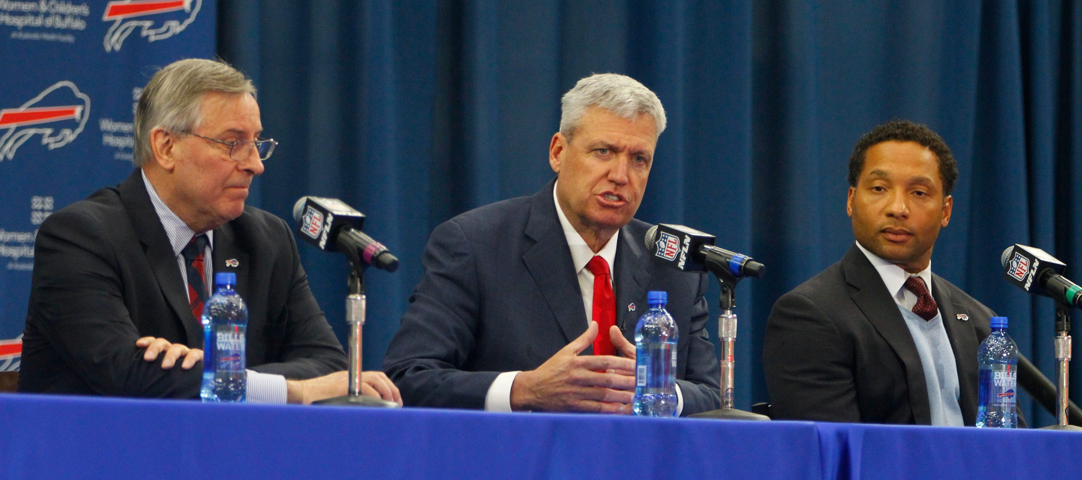 Bills owner Terry Pegula, left, is seen with head coach Rex Ryan and general manager Doug Whaley at a news conference Jan. 14, 2015. (John Hickey/Buffalo News)