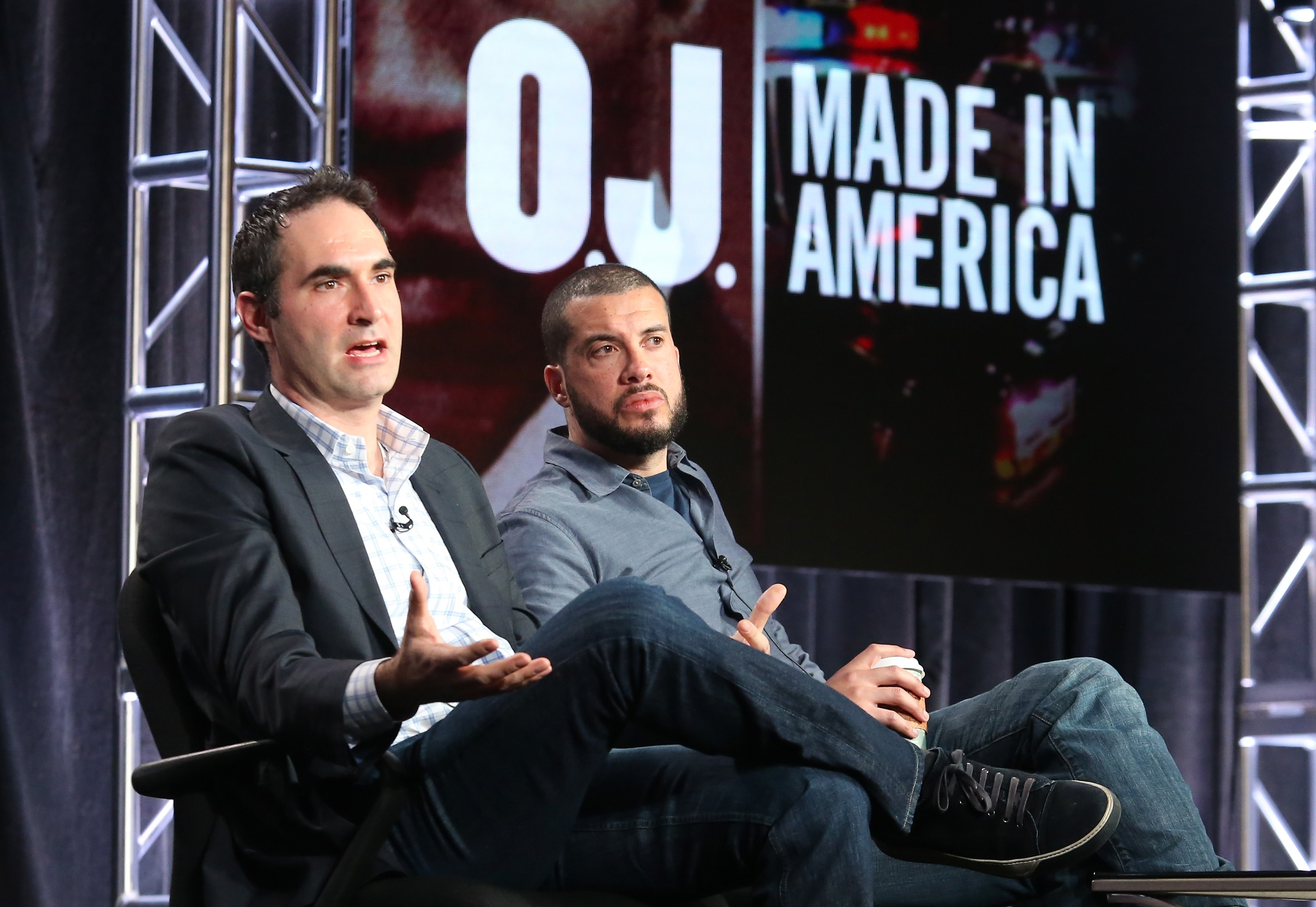 "ConnorSchell, left, senior vice president and executive producer, ESPN Films, and Ezra Edelman, director of ""OJ: Made In America,"" discuss the documentary Tuesday in Pasadena, Calif."