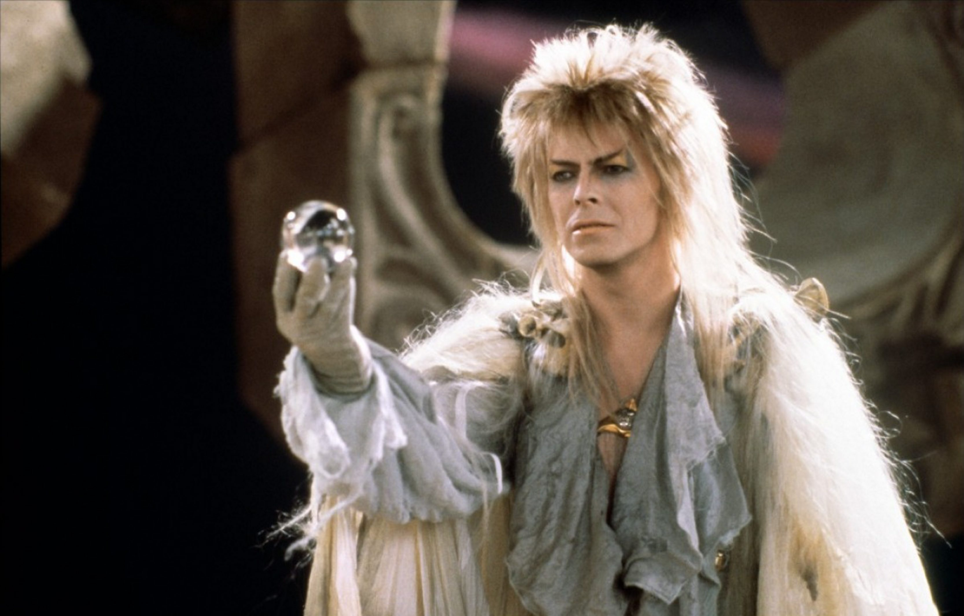 "David Bowie stars in the Jim Henson film, ""Labyrinth."""