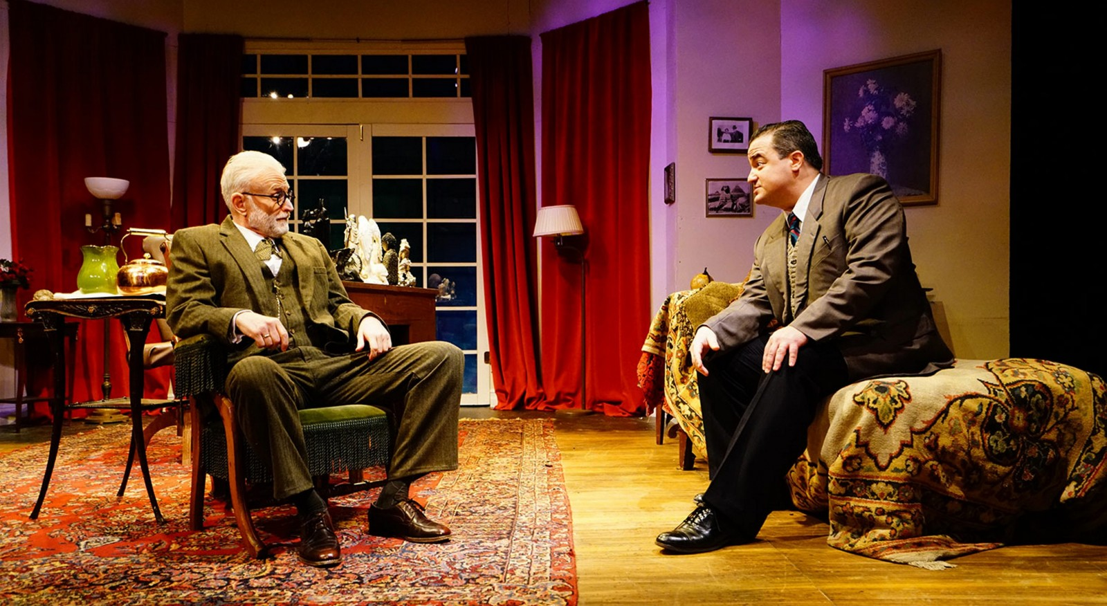 David Oliver, left, plays Sigmund Freud, and Matt Witten is C.S. Lewis in the lively 'Freud's Last Session.' (Photo courtesy of Vincent Lopez.)