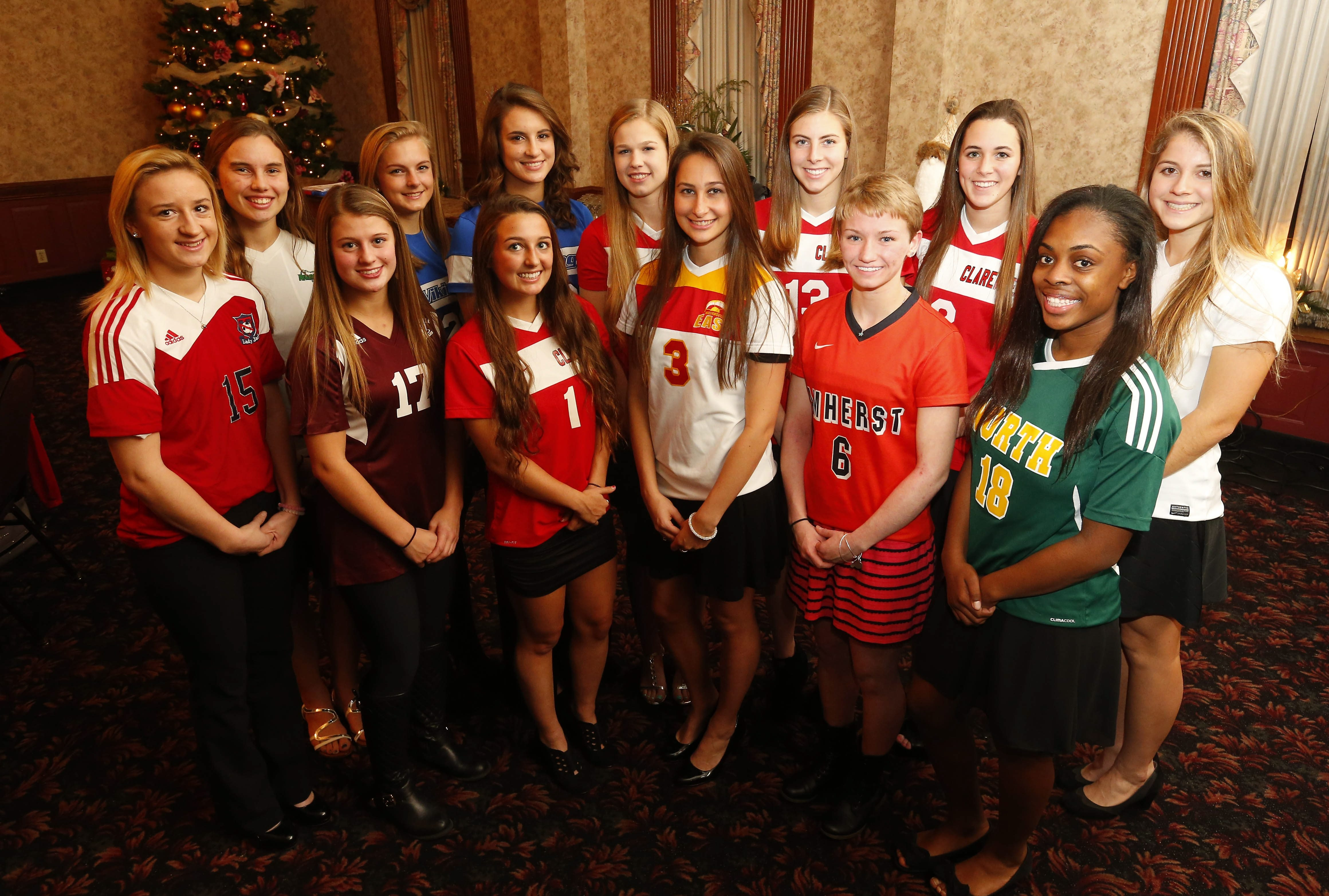 The All-WNY Girls Soccer first team. Front row (left to right): Allie Smyth (North Tonawanda), Morgan Zlockie (Ellicottville), Riley Bowers (Clarence), Marissa Birzon (Williamsville East), Amanda Roberts (Amherst), Maya Palmer (Williamsville North). Back row (left to right): Eileen Rath (Nardin), Madisyn Pezzino (Grand Island), Marcy Barberic (Grand Island), Hannah Spitzer (Clarence), Sydney Cerza (Clarence), Molly Barden (Clarence), Emma Gervase (Nardin).