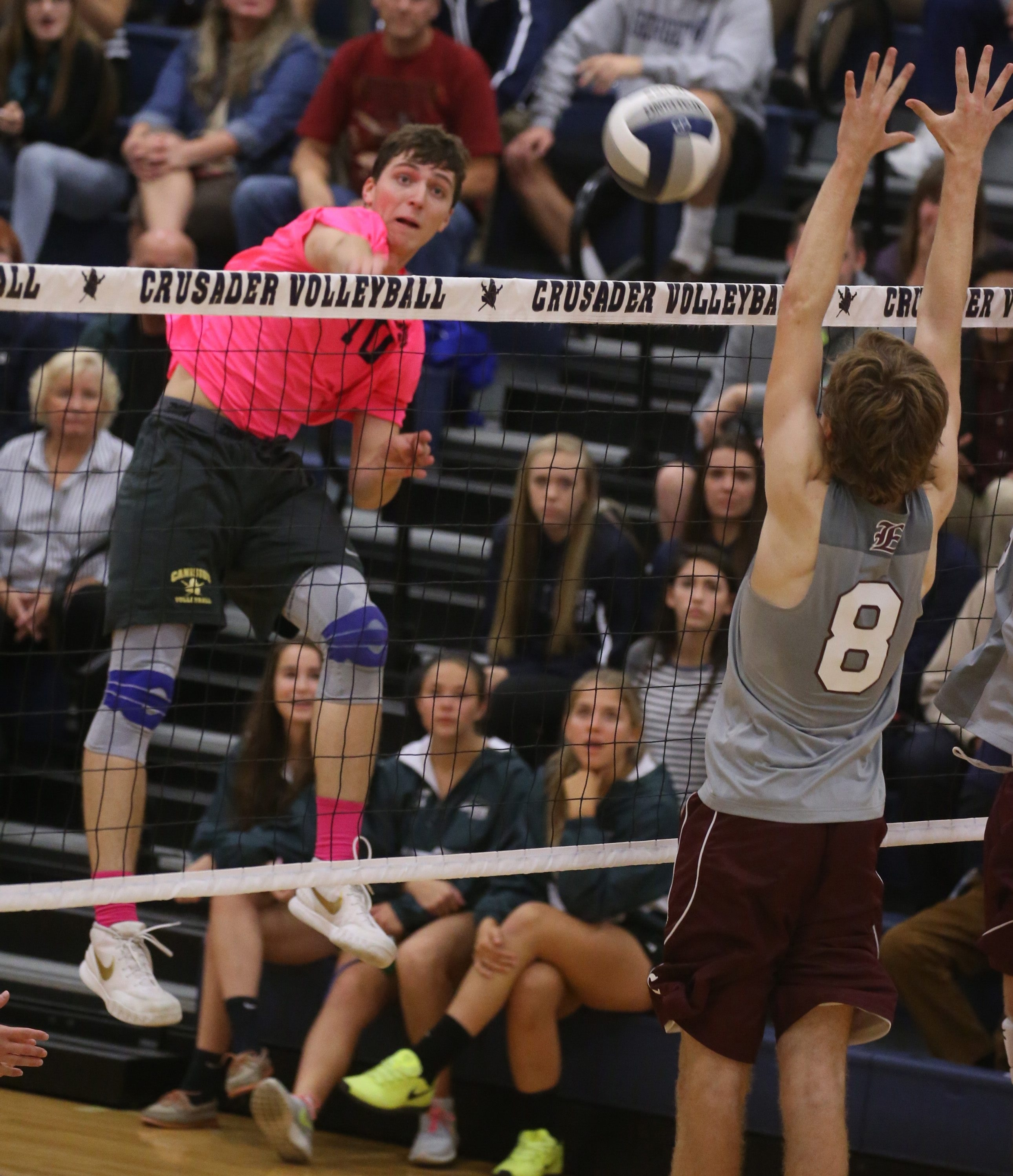 Canisius's Griffin Schmit , shown hitting against Eden, is the 2015 boys' volleyball Player of the Year.