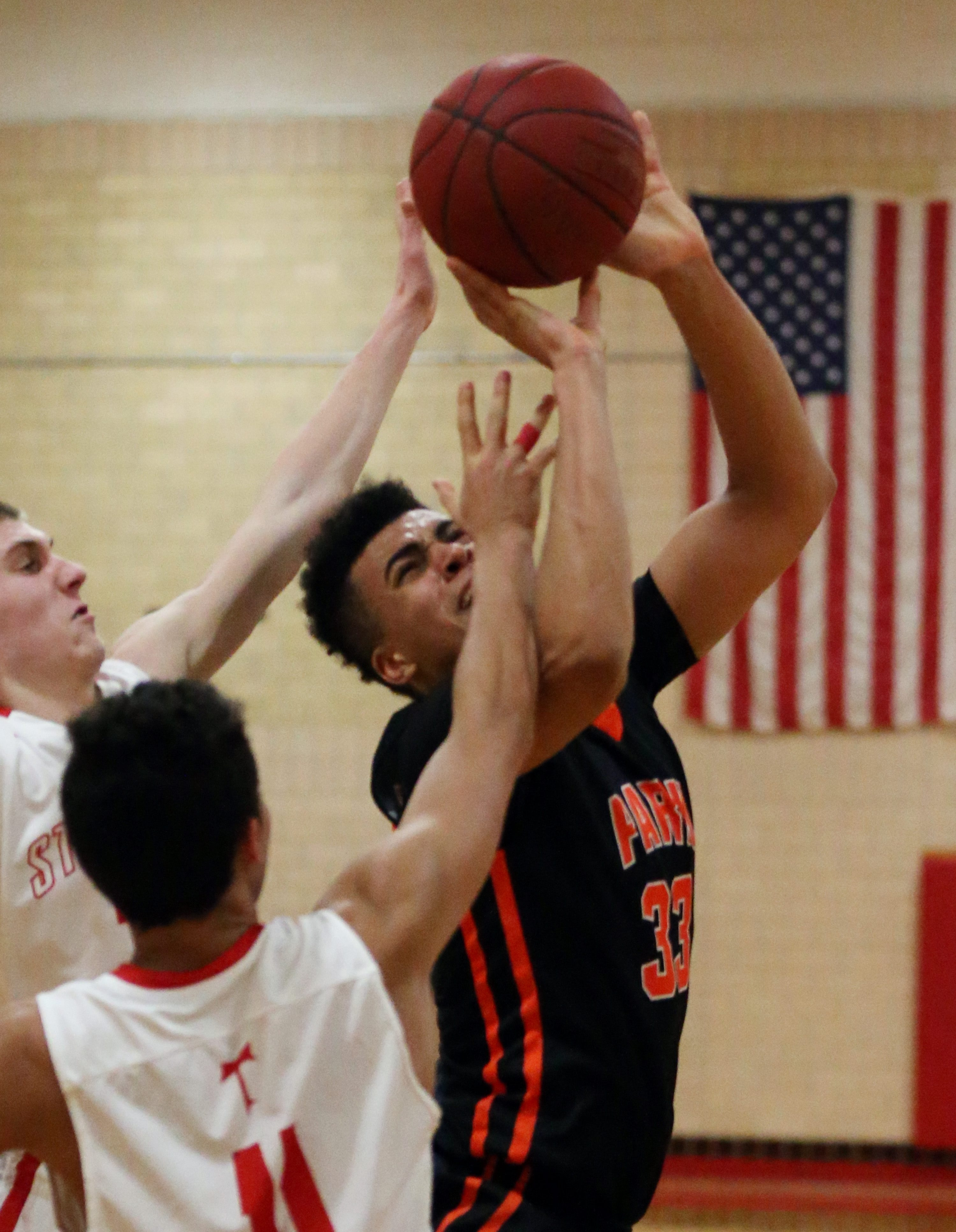 Park's Jordan Nwora is fouled by St. Francis' Josh Palmer in the fourth quarter of Friday's game. Nwora ended up with 15 points.