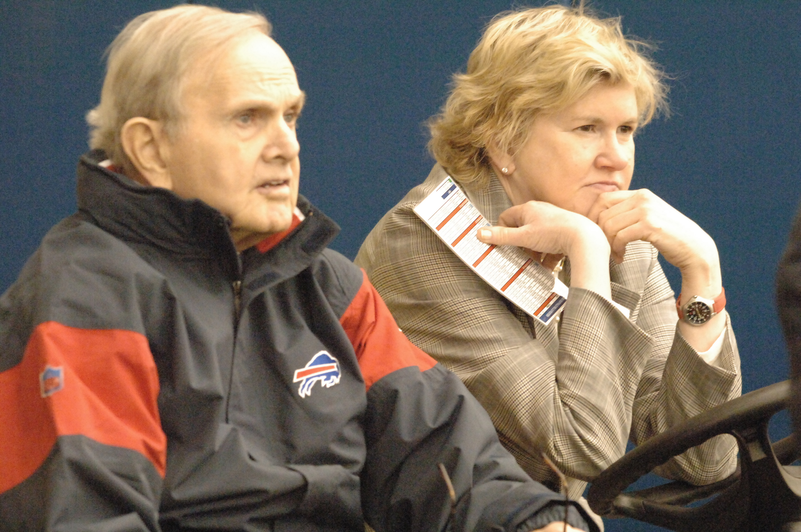 Linda Bogdan watches Bills practice with her father and team owner, Ralph Wilson, in 2005. Bogdan served as the Bills' vice president/assistant director of college and pro scouting. (James P. McCoy/News file photo)