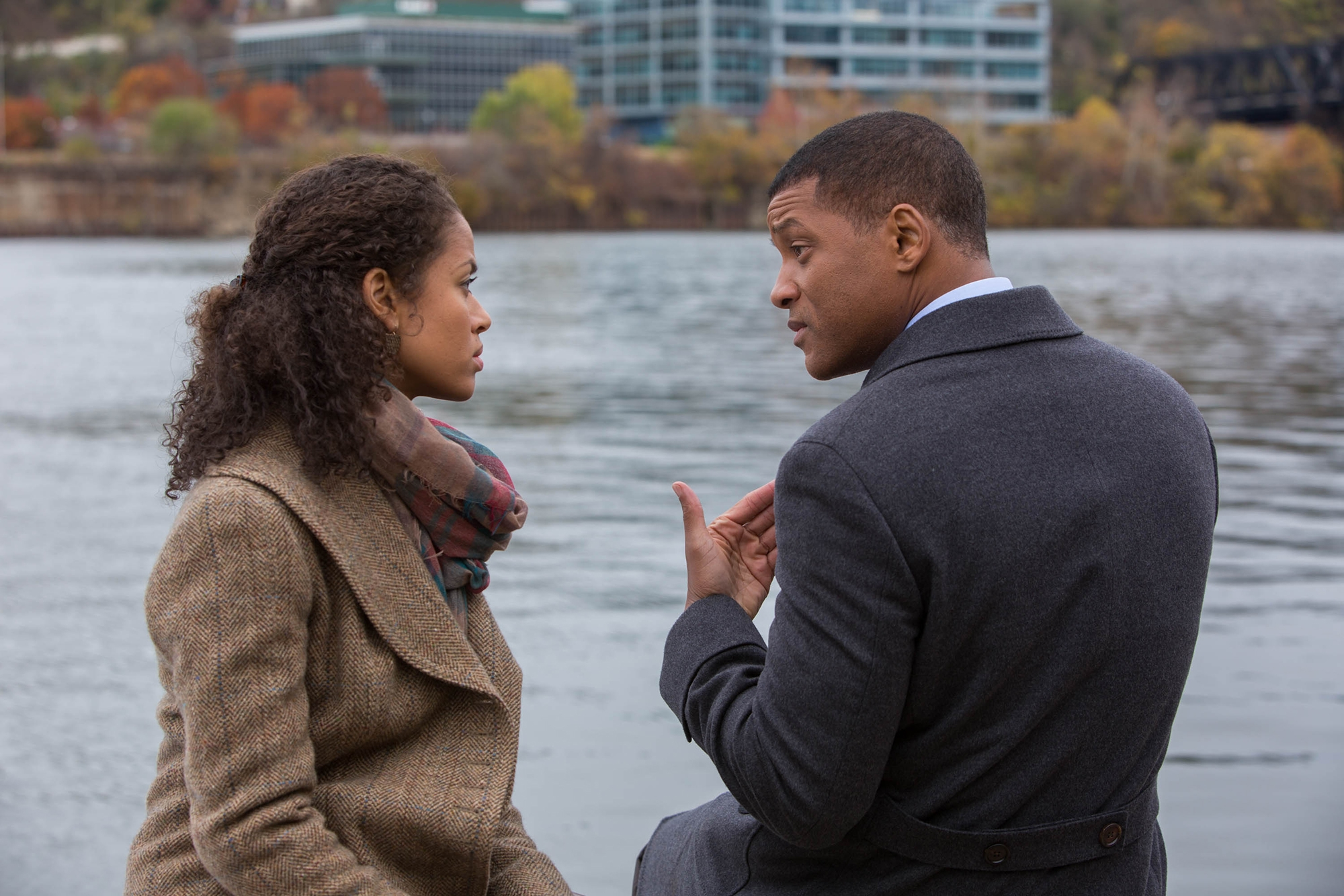 """Gugu Mbatha-Raw and Will Smith star in """"Concussion,"""" a movie that could give pause to even the most ardent NFL followers."""