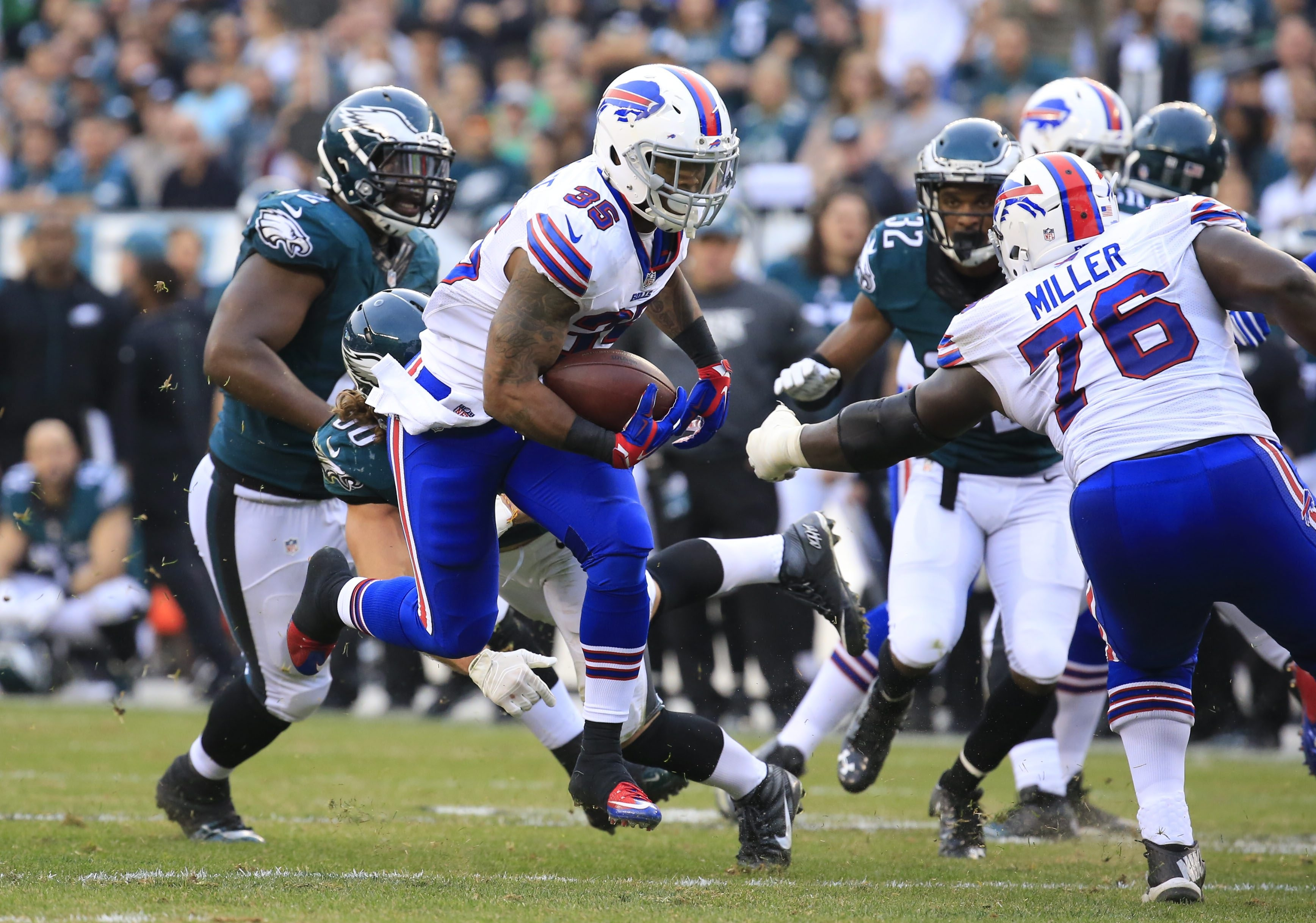 Buffalo Bills running back Mike Gillislee runs for a touchdown against the Philadelphia Eagles during second-half action at Lincoln Financial Field on Dec. 13, 2015.