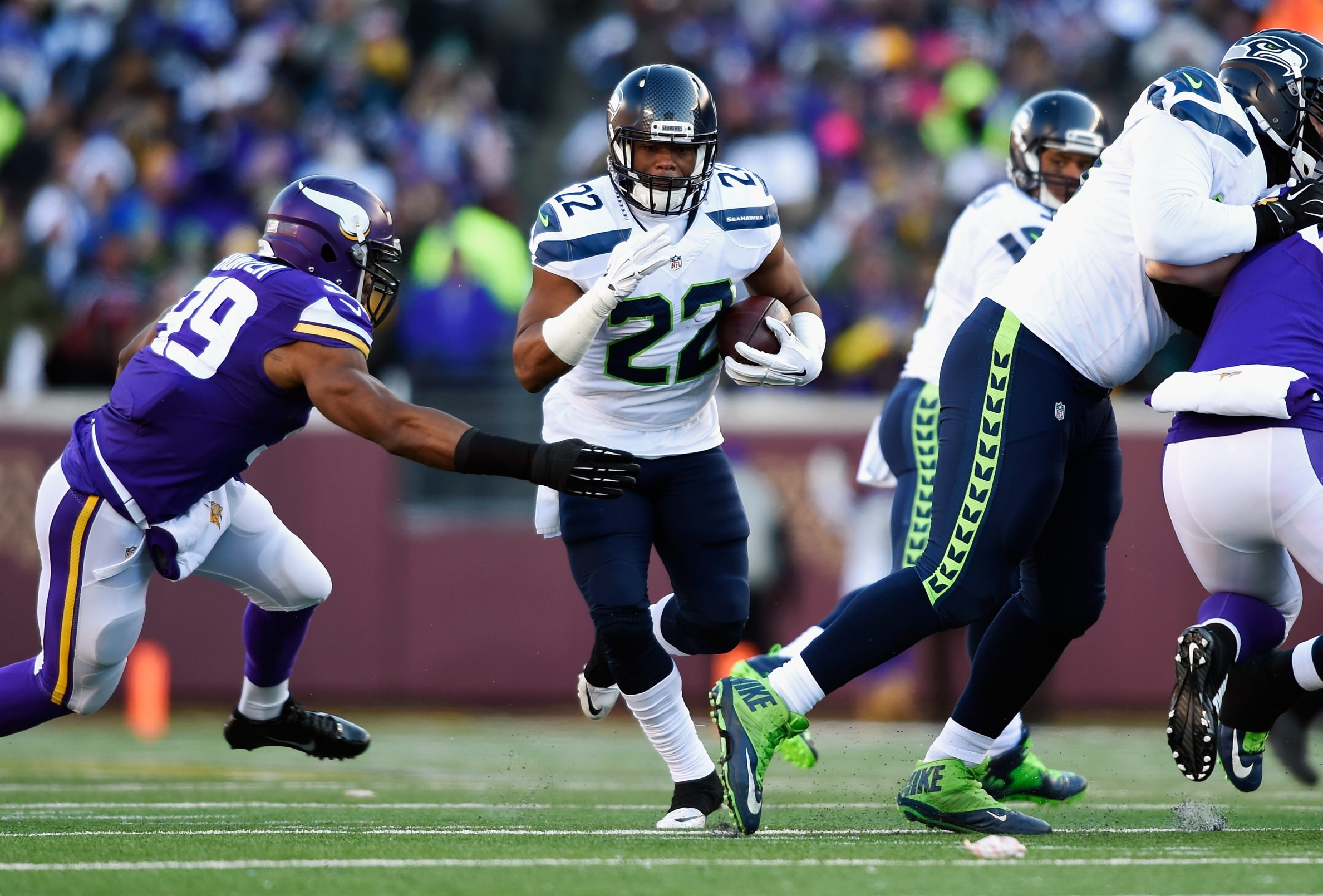 Fred Jackson of the Seattle Seahawks is one of three running backs, Marshawn Lynch and Bryce Brown are the other two, that were once a member of the Buffalo Bills.
