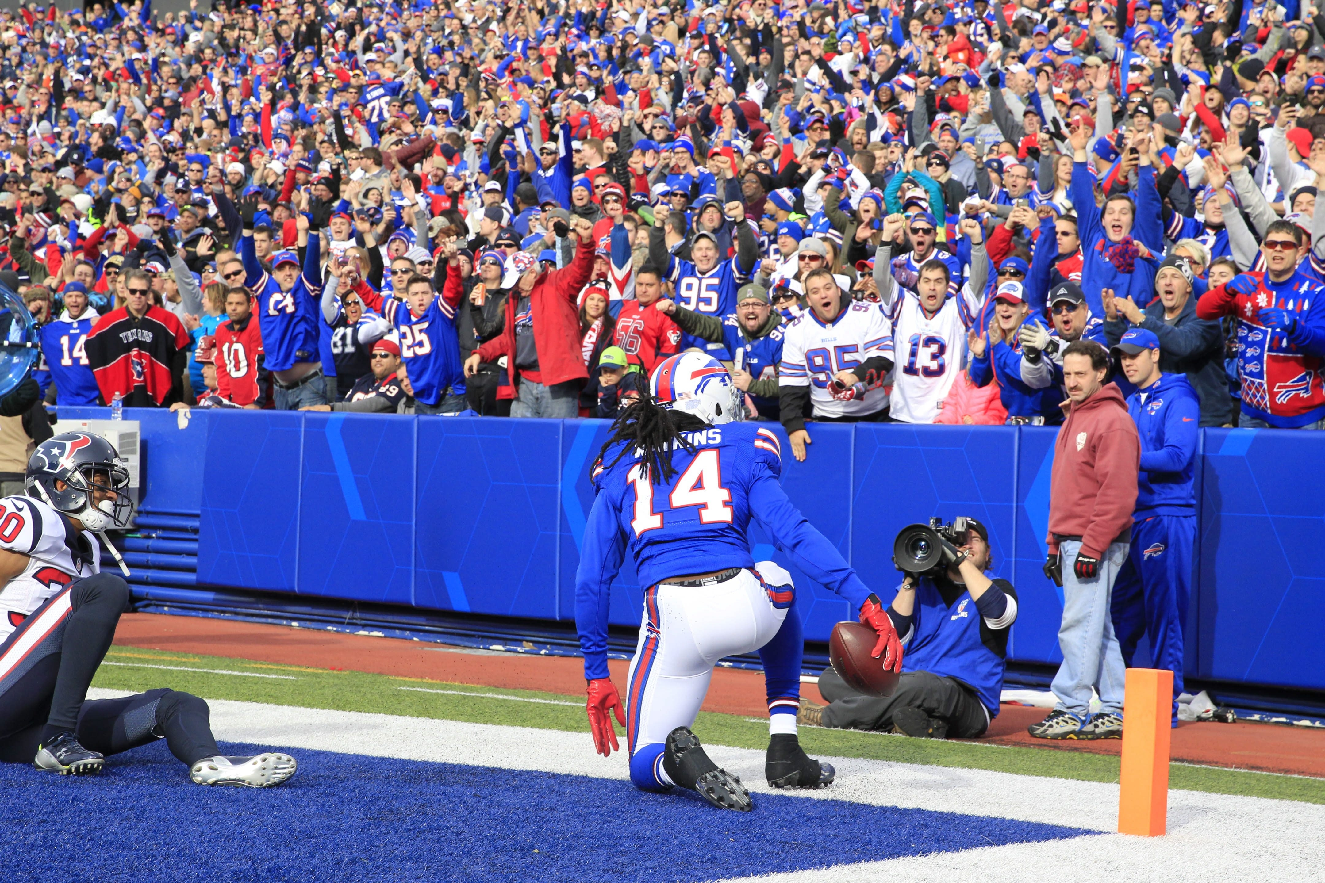 Fans celebrate a touchdown by Buffalo Bills wide receiver Sammy Watkins (14) against the Houston Texans during the first quarter at Ralph Wilson Stadium on Sunday, Dec. 6, 2015.  (Harry Scull Jr./Buffalo News)