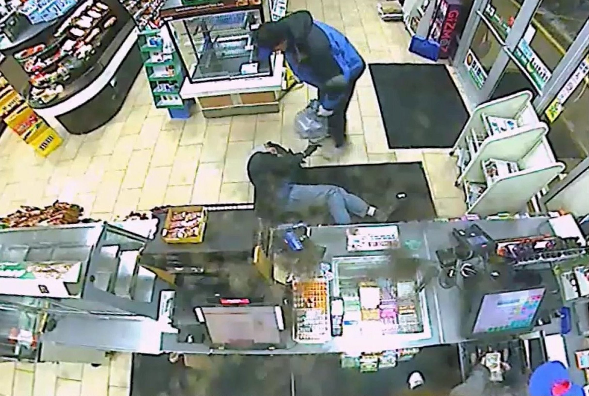 A screen shot from a video released by police of an attempted robbery Tuesday at a Town of Tonawanda convenience store.