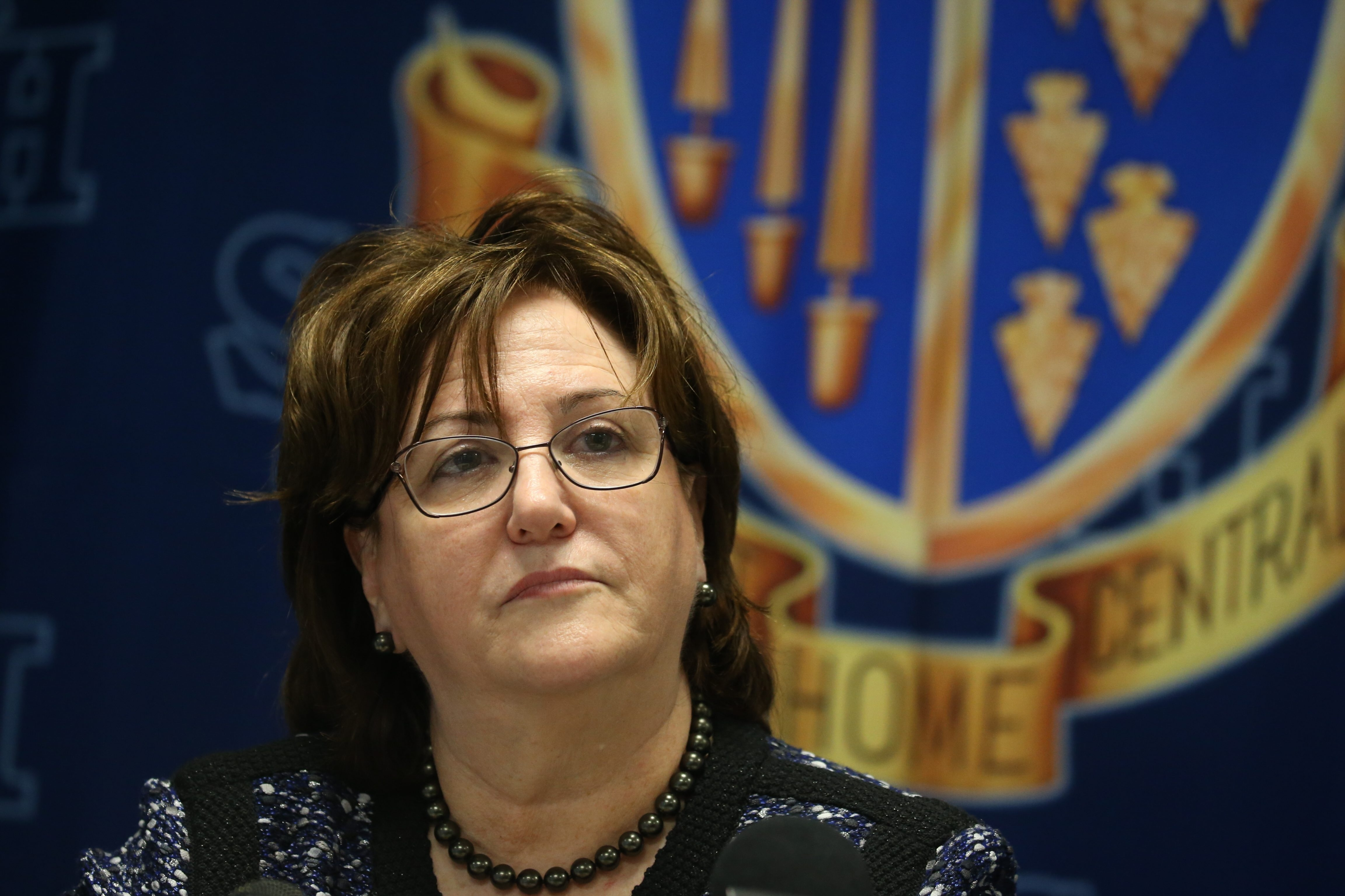 New York State Education Commissioner MaryEllen Elia speaks to the media after she visited Sweet Home Senior High School for the first day of school in Amherst, N.Y., on Wednesday,  Sept. 9, 2015.  (John Hickey/Buffalo News)
