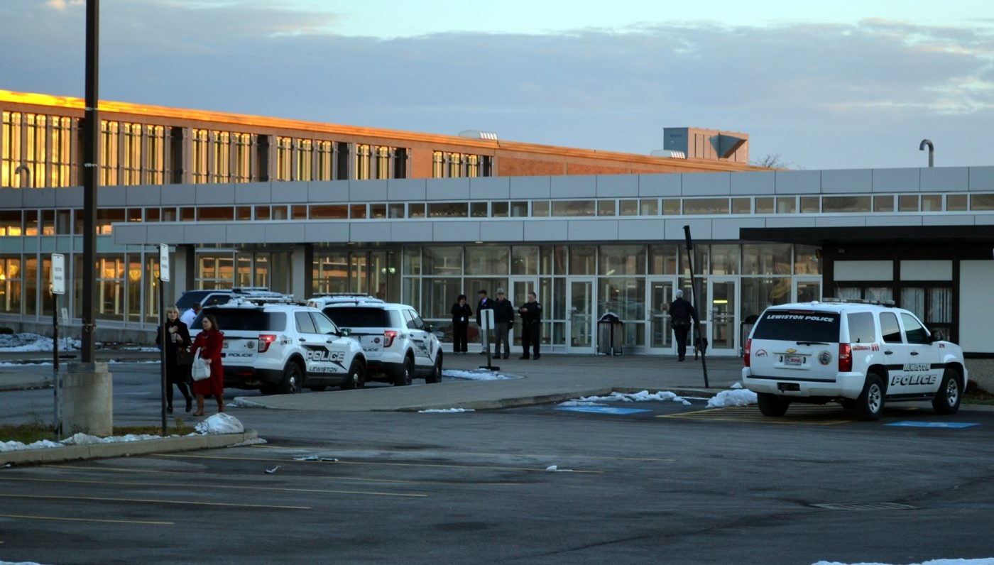 Law enforcement is seen outside Niagara Wheatfield High School Thursday afternoon. (Larry Kensinger/Special to the News)