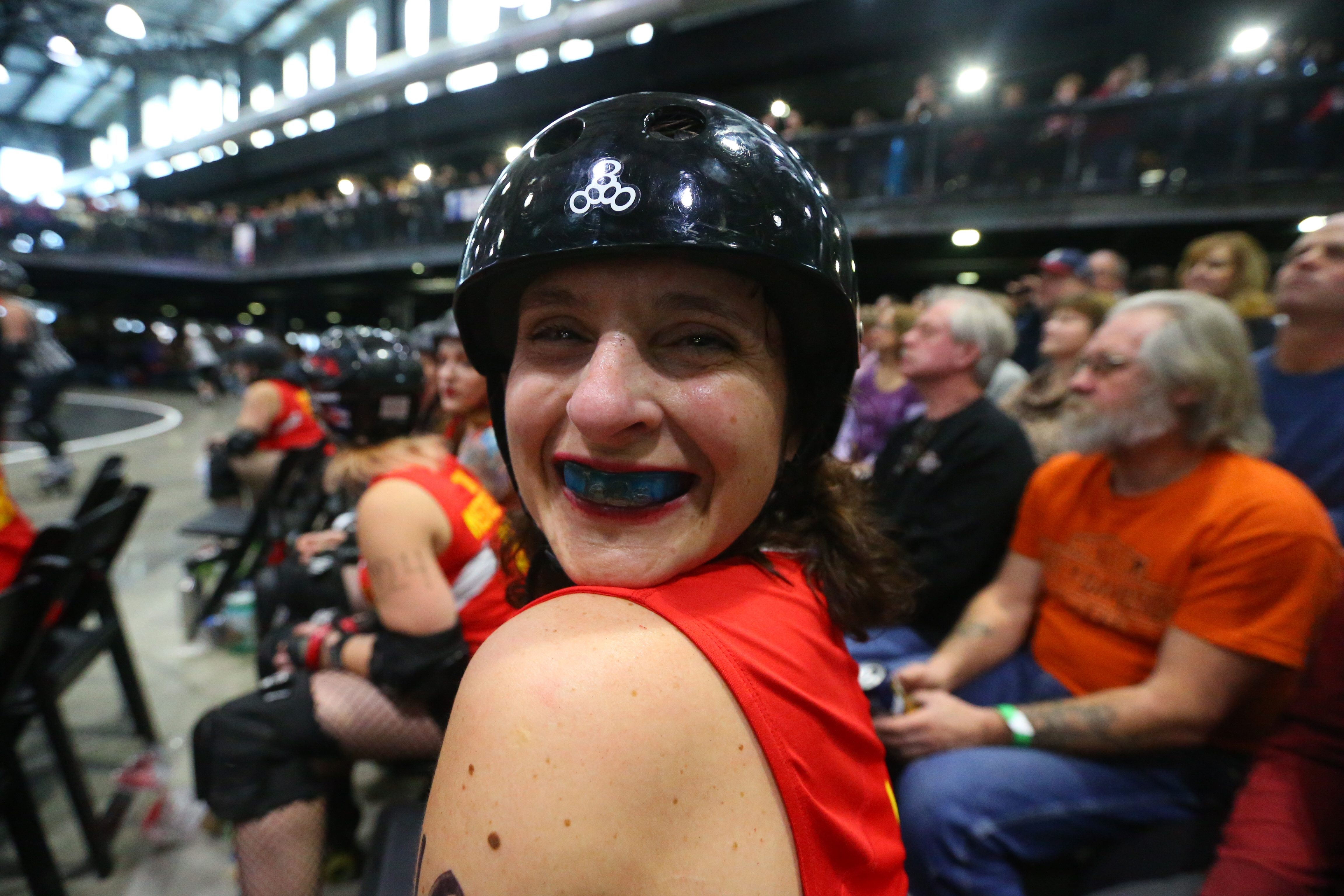 Players for the Devil Dollies and the Suicidal Saucies jockey for position Saturday at Buffalo RiverWorks in downtown Buffalo.