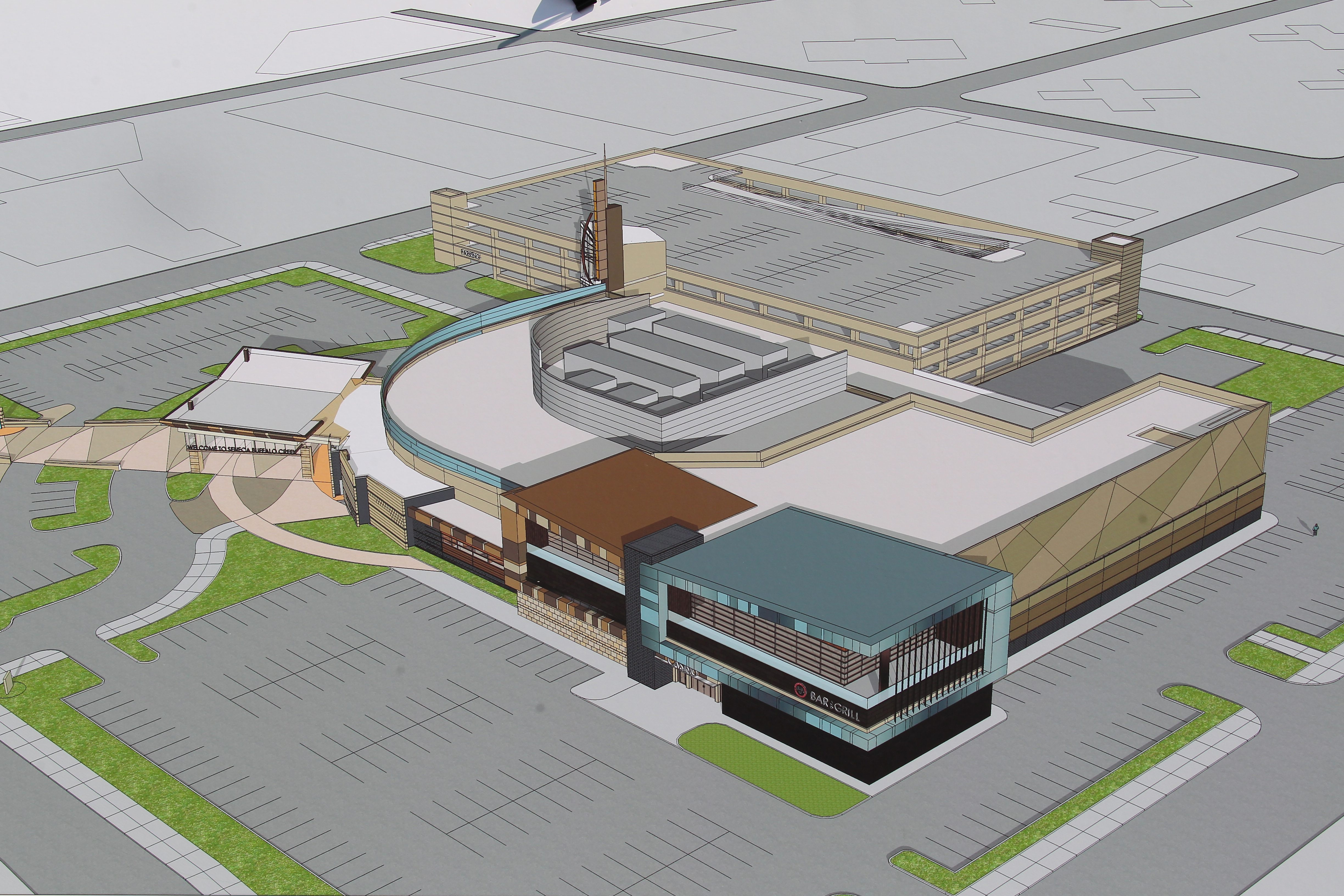 Rendering of the planned expansion,  the  gray windowed area at the bottom of the illustration, at  the Seneca Buffalo Creek Casino.