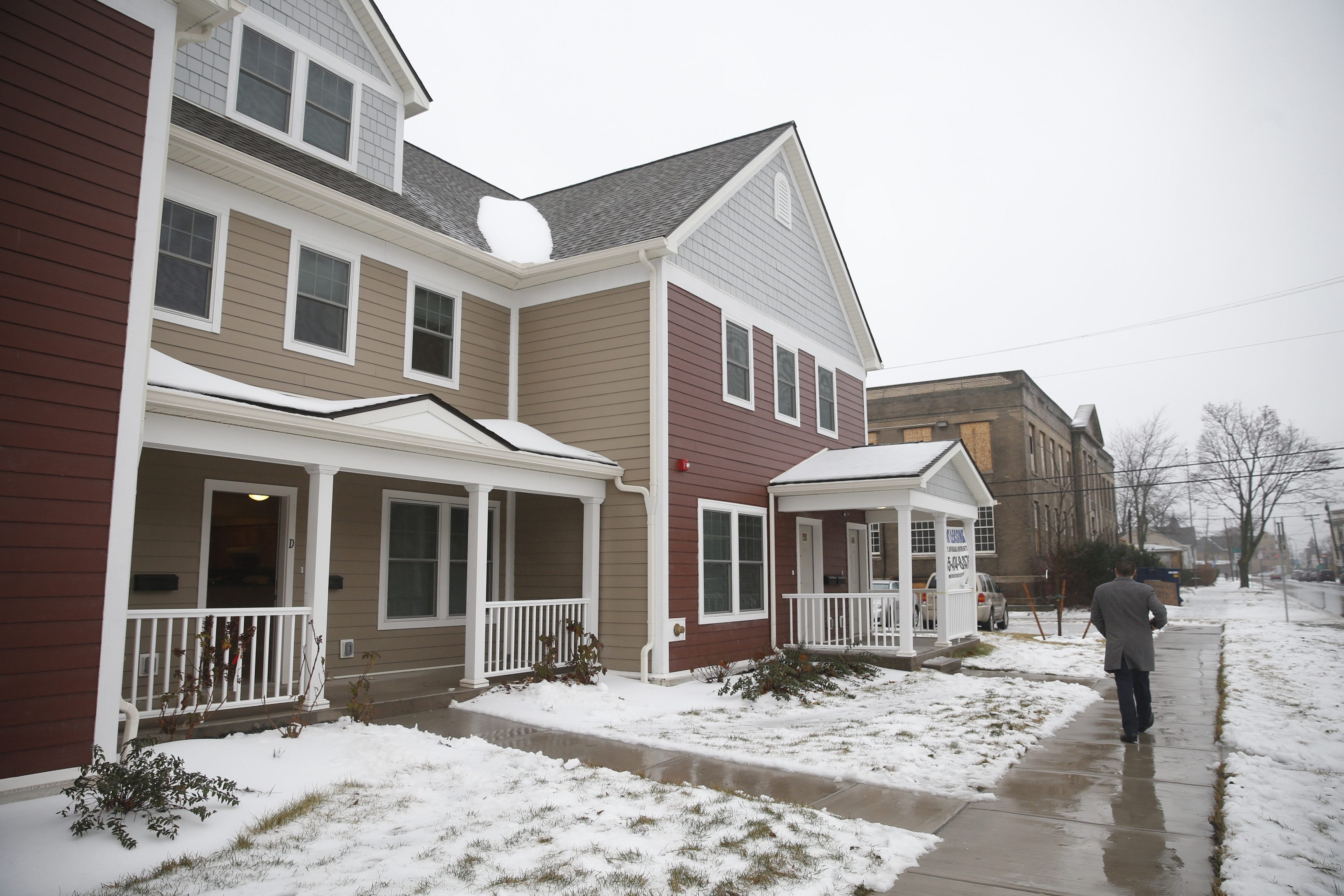 Seven new buildings are part of the 41-unit Walnut Avenue Homes project, which also includes the long-vacant Board of Education building. There will be 12 apartments with one bedroom, 18 with two and 11 with three.