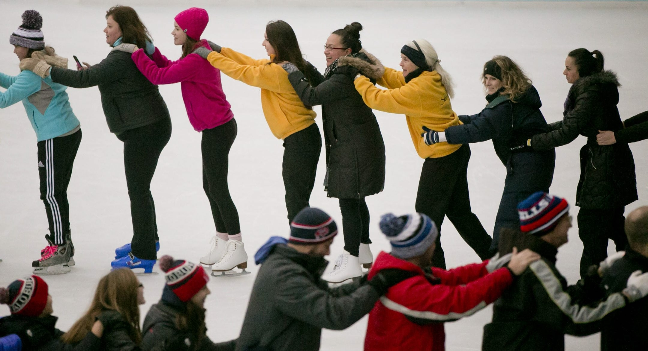 """Approximately 150 ice skaters snake around the ice at Canalside in an attempt to break the Guiness world record for the longest ice line in a benefit for Make-A-Wish during """"Chillabration"""" festivities, Saturday, Jan. 16, 2016.  Unfortunately the attempt fell short of the current record of 370, which was set on Feb. 28, 2015 in Hachinohe, Aomori, Japan.  (Derek Gee/Buffalo News)"""