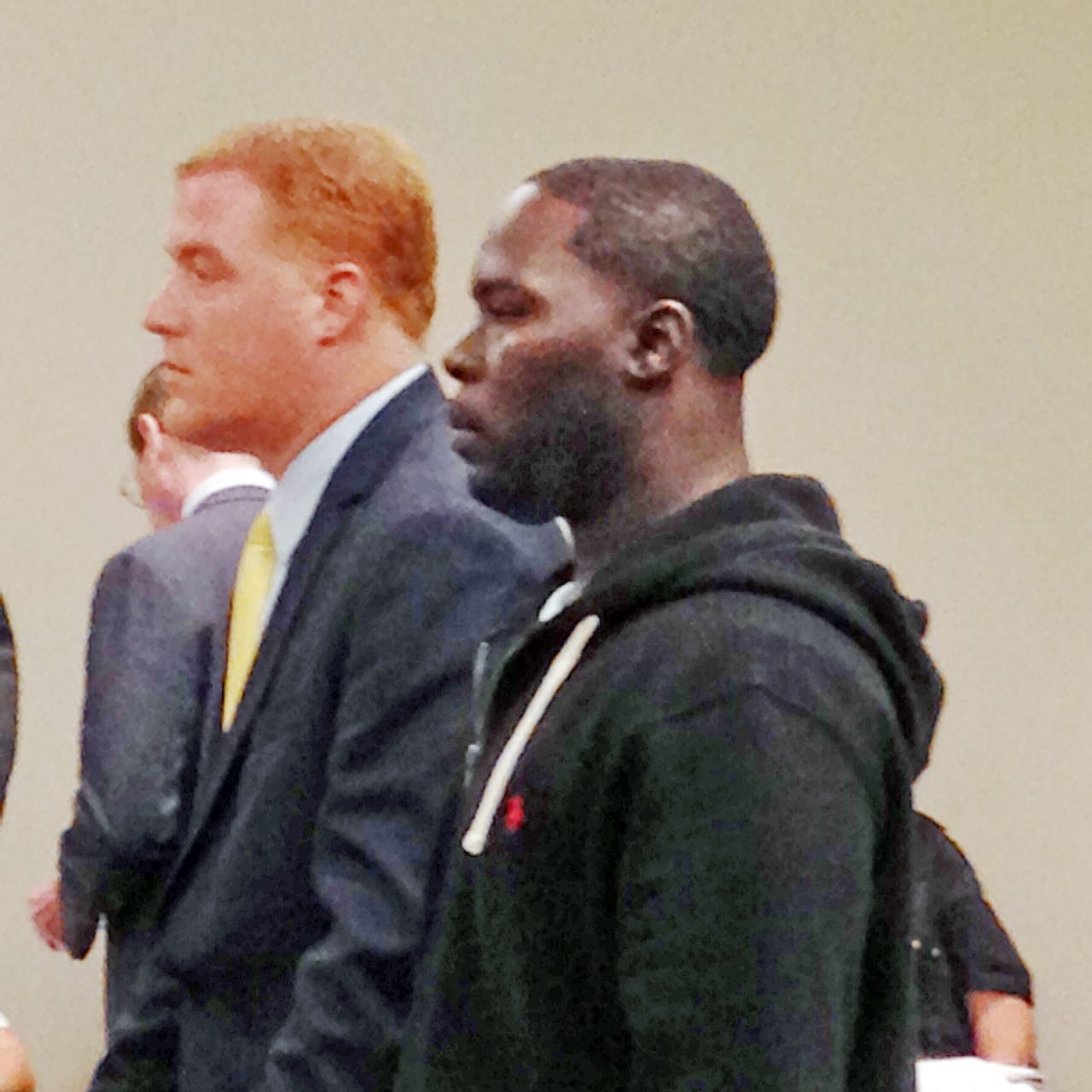 Alleged opiate dealer Dellsean Hamilton is shown with defense attorney Michael D'Amico at a City Court hearing last summer.