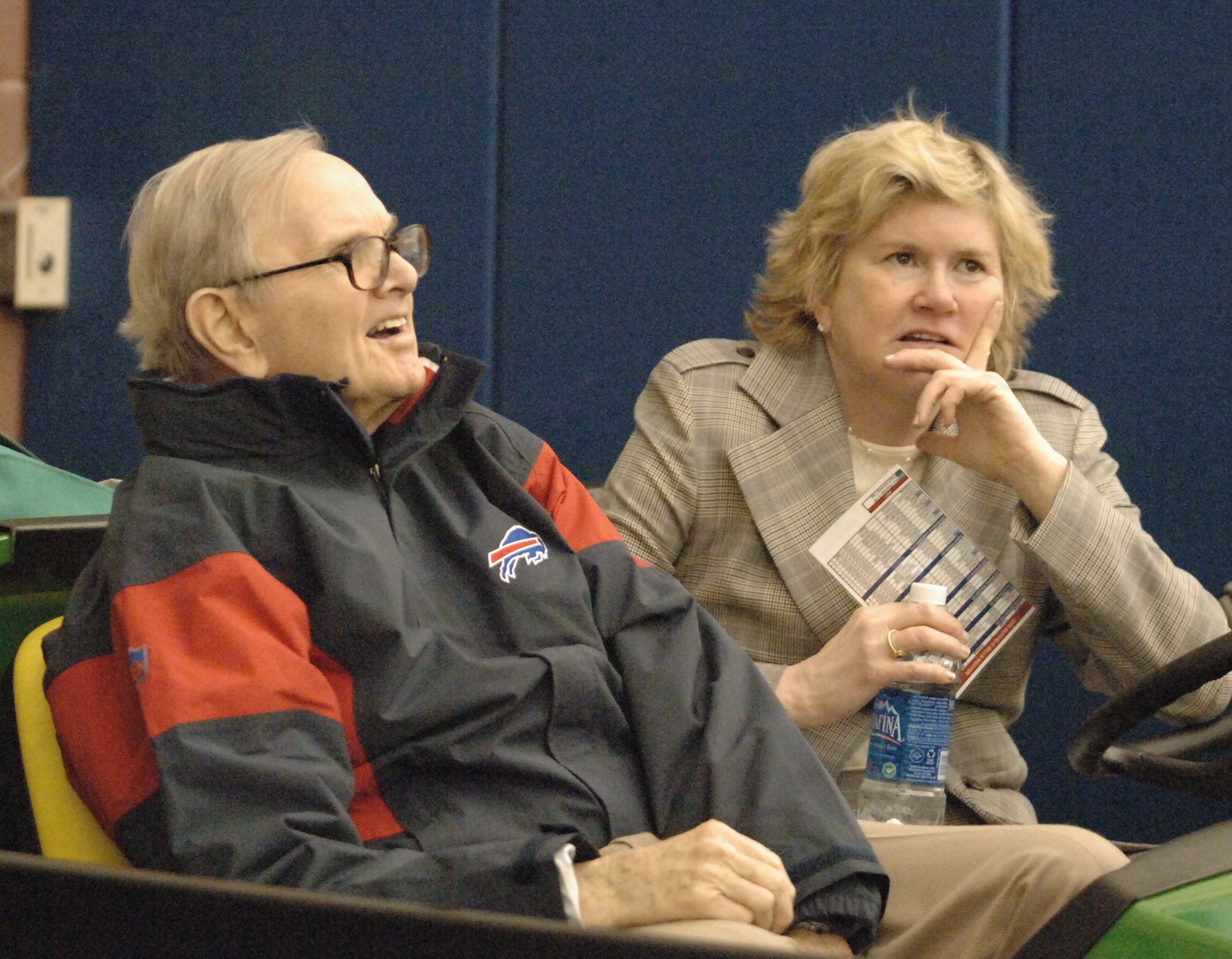Linda Bogdan, sitting with her father, Ralph Wilson, in a 2005 photo, became a full-time scout for the Bills in the mid-'80s, but she didn't like to publicize her role as a gender pioneer in the NFL.