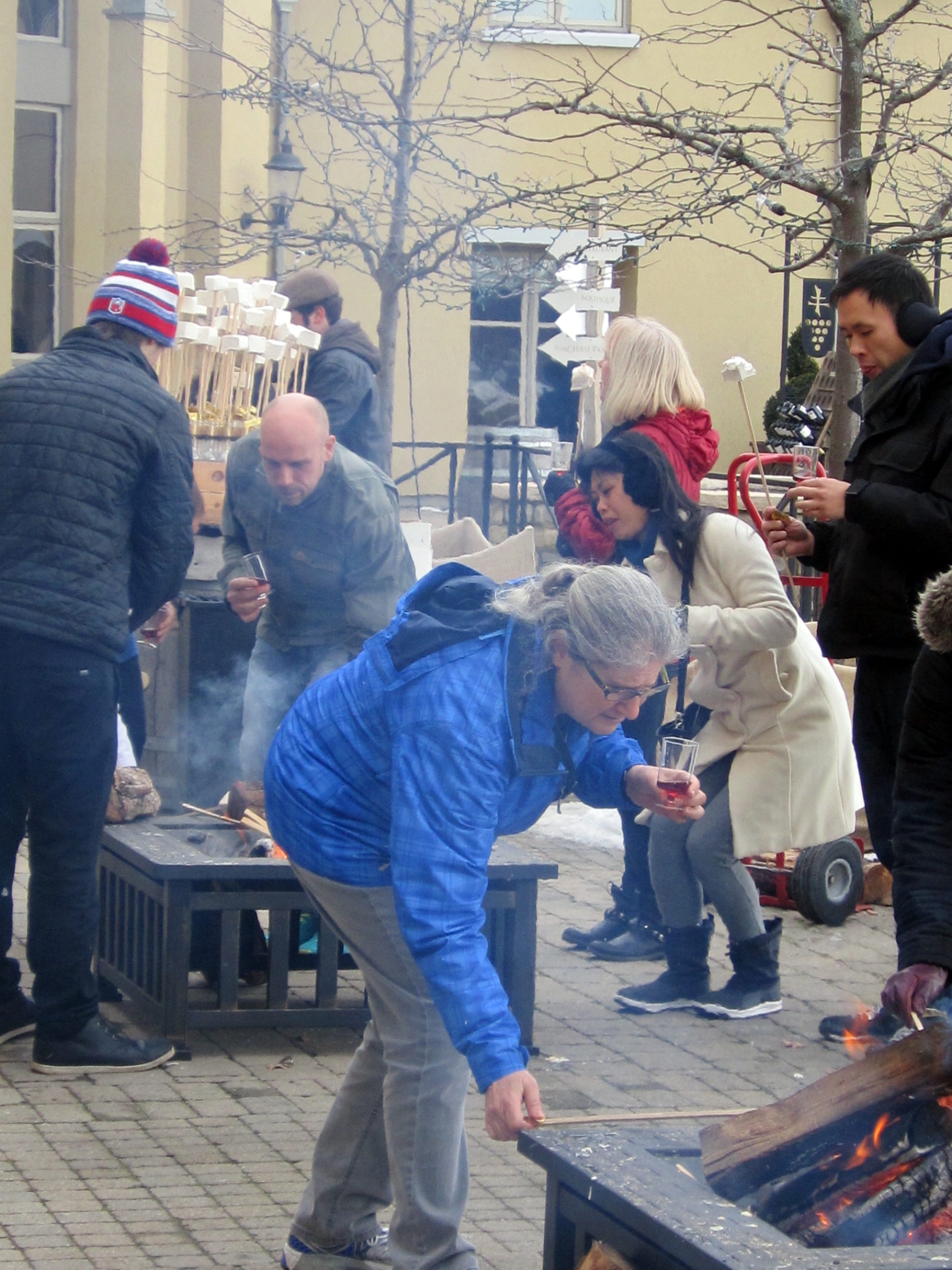 Visitors roast giant, homemade marshmallows to go with their wine at Peller Estates during the Niagara Icewine Festival.