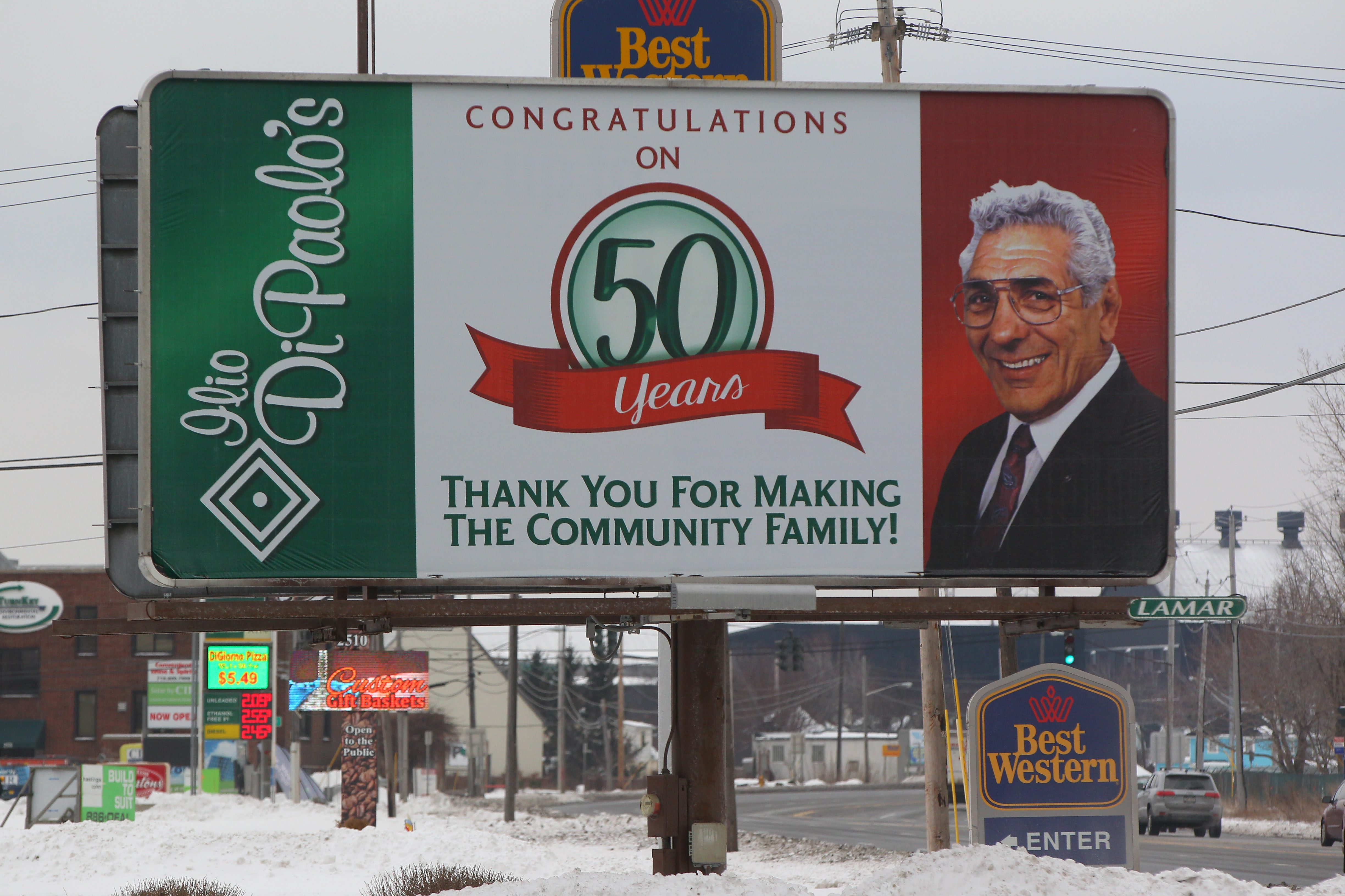 A billboard congratulating Ilio DiPaolo's Restaurant for its 50 years in business is seen Thursday on Route 5 in Lackawanna.