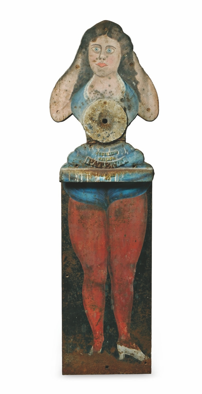 This cast-iron figure of a woman is a rare, life-size shooting gallery target that is more than 100 years old. Skinner auctions sold her in March 2015 in Boston for $43,050, eight times the high estimated price.