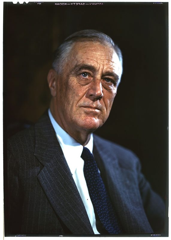 This photo of Franklin D. Roosevelt was taken during a 1944 portrait session by Leon A. Perskie in Hyde Park.